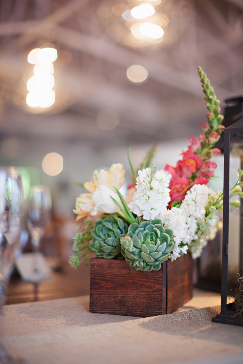 boxed floral succulent centerpiece