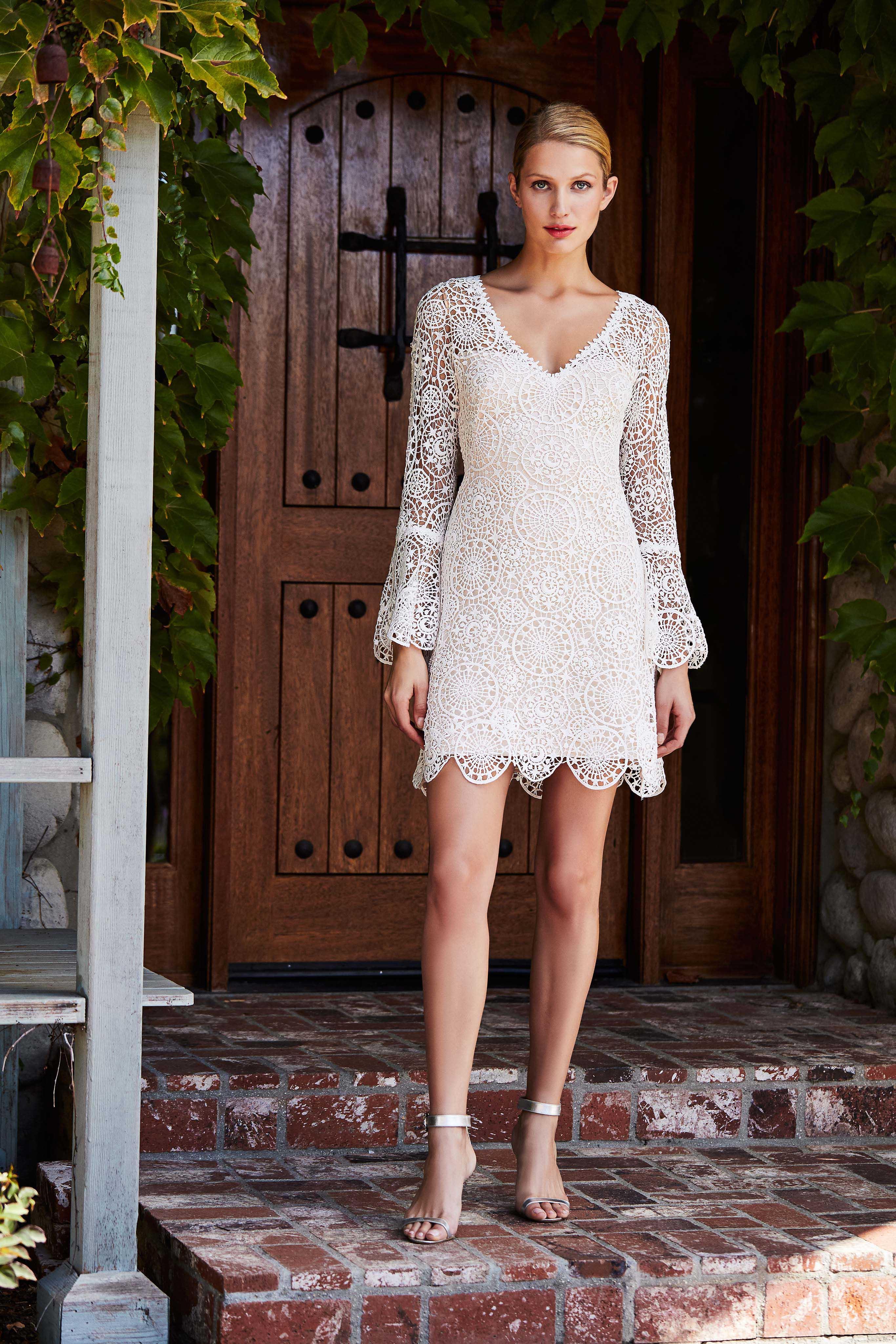 tadashi shoji wedding dress fall 2018 longsleeve lace mini