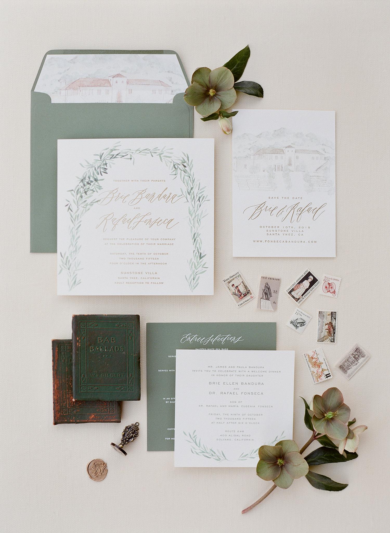 invitation suite with venue illustration