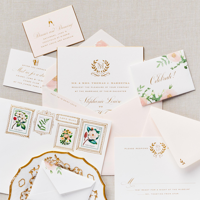 invitation suite with envelope details