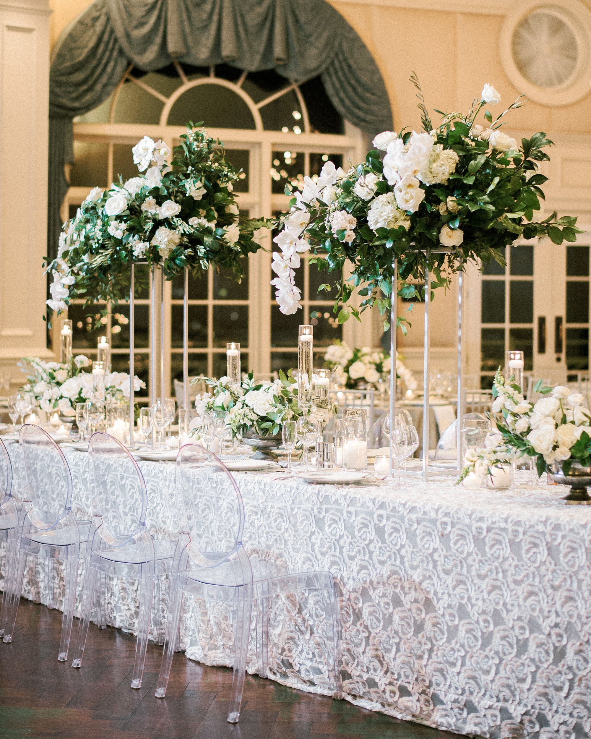 glamorous wedding ideas white lace table cover