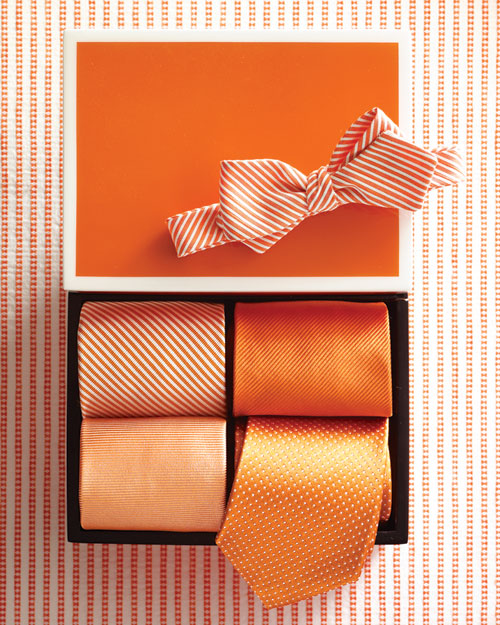 Orange and White Ties