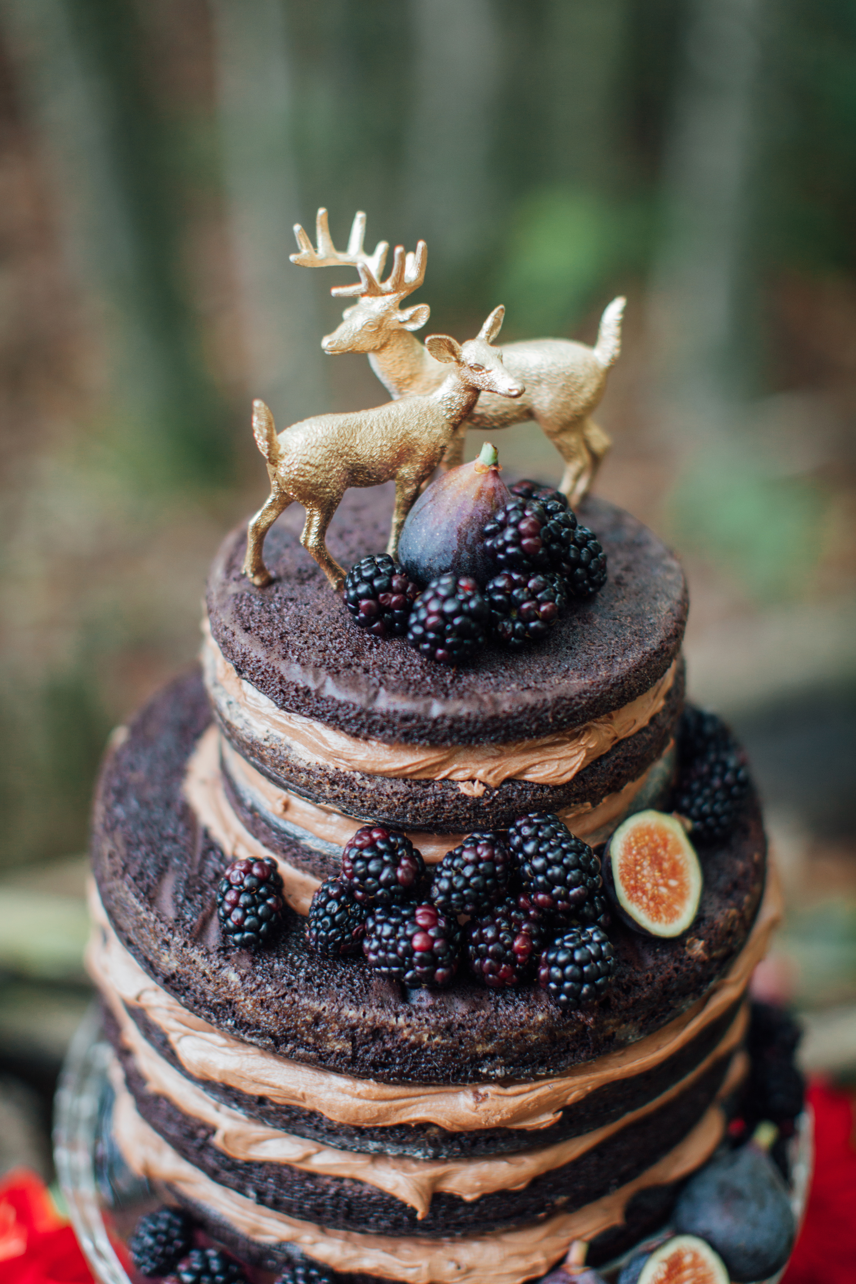 Chocolate Wedding Cake with Gold Deer Toppers, Fall Wedding Ideas
