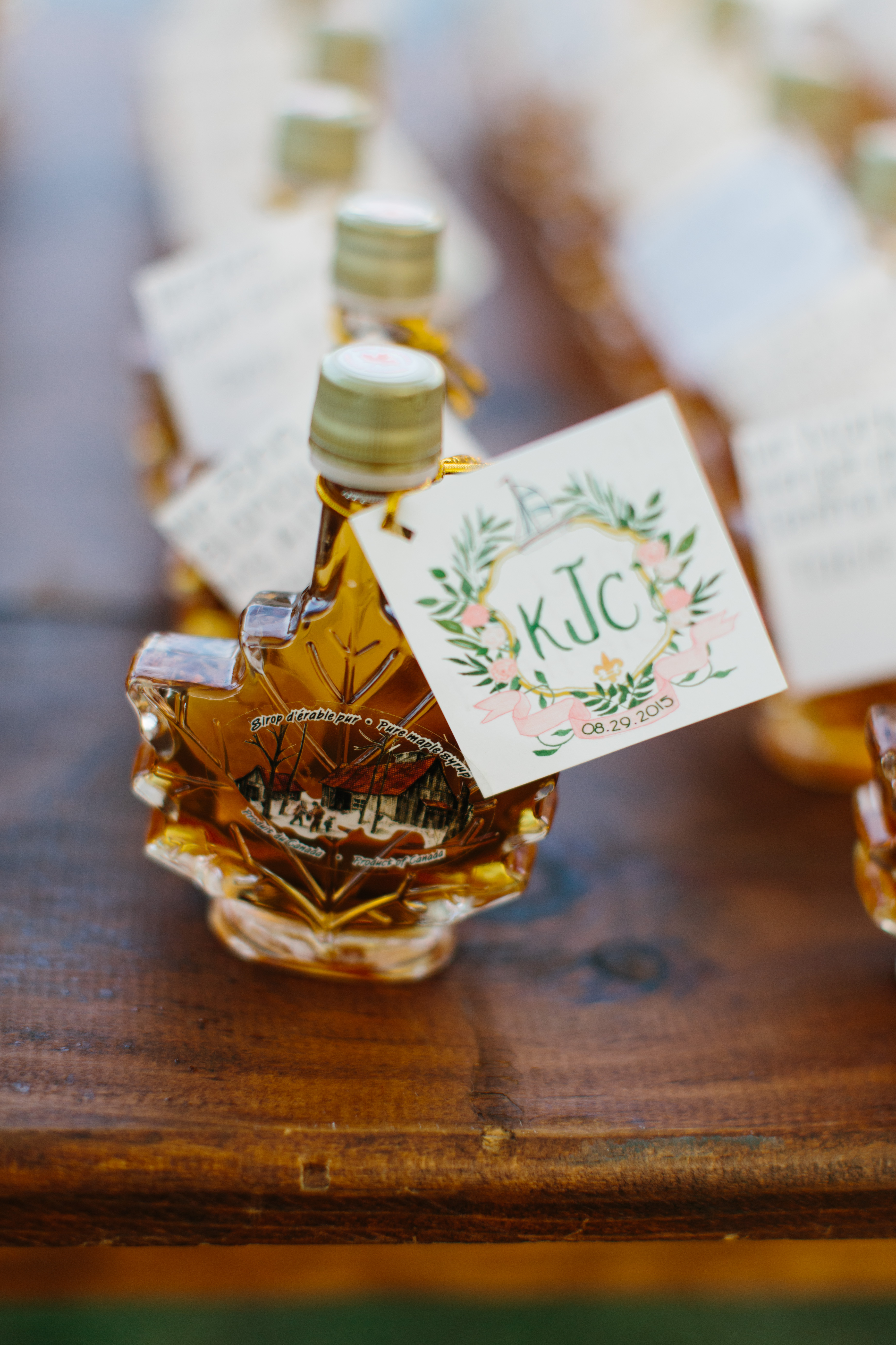 maple syrup favors with monogram tags
