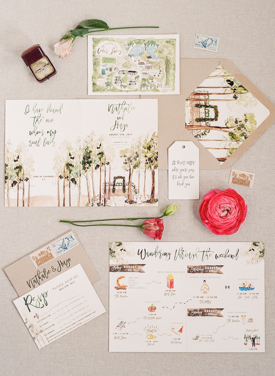 destination inspired wedding invitations illustrated snapshots