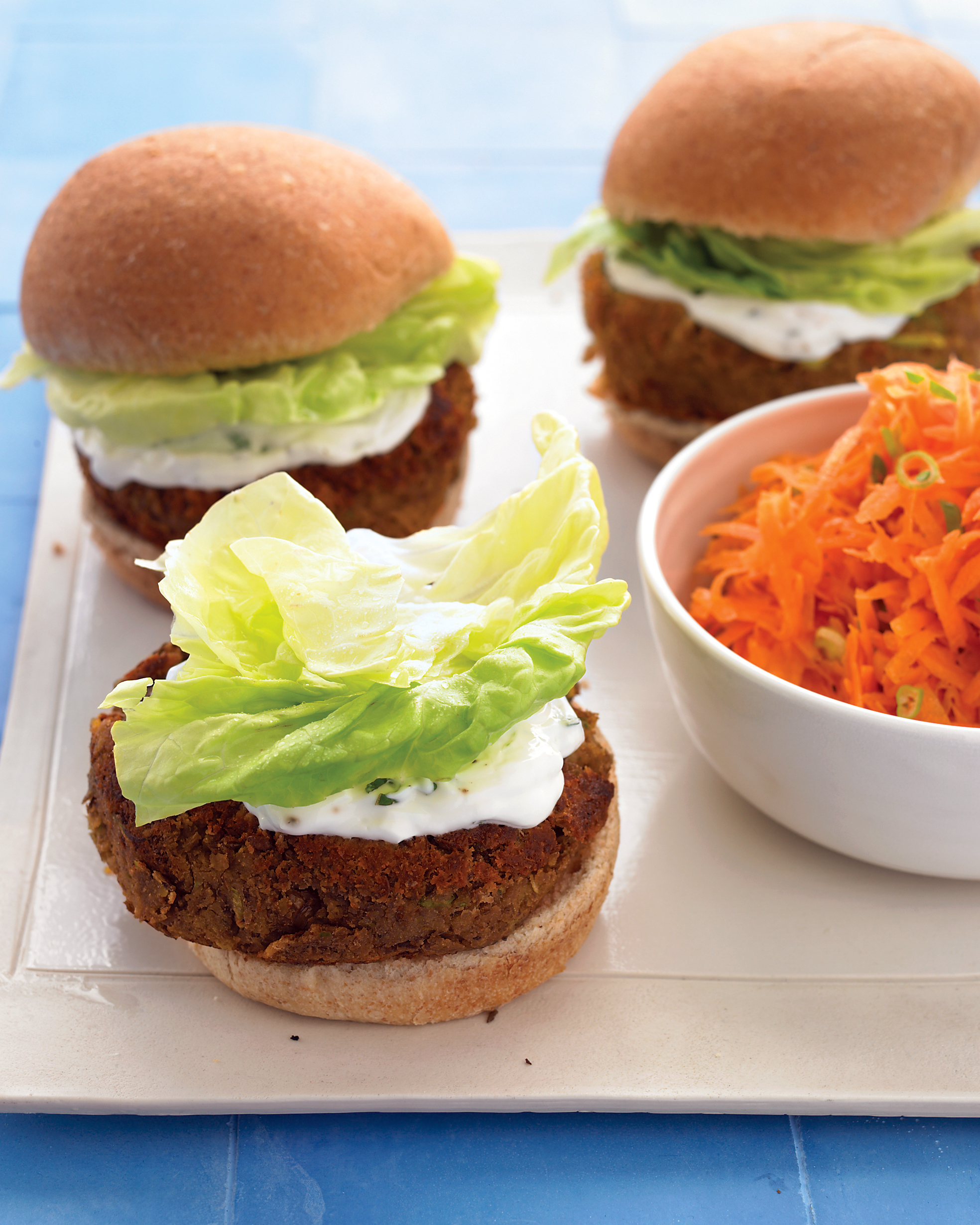 Mediterranean Veggie Burger with Mint-Yogurt Sauce and Carrot Salad