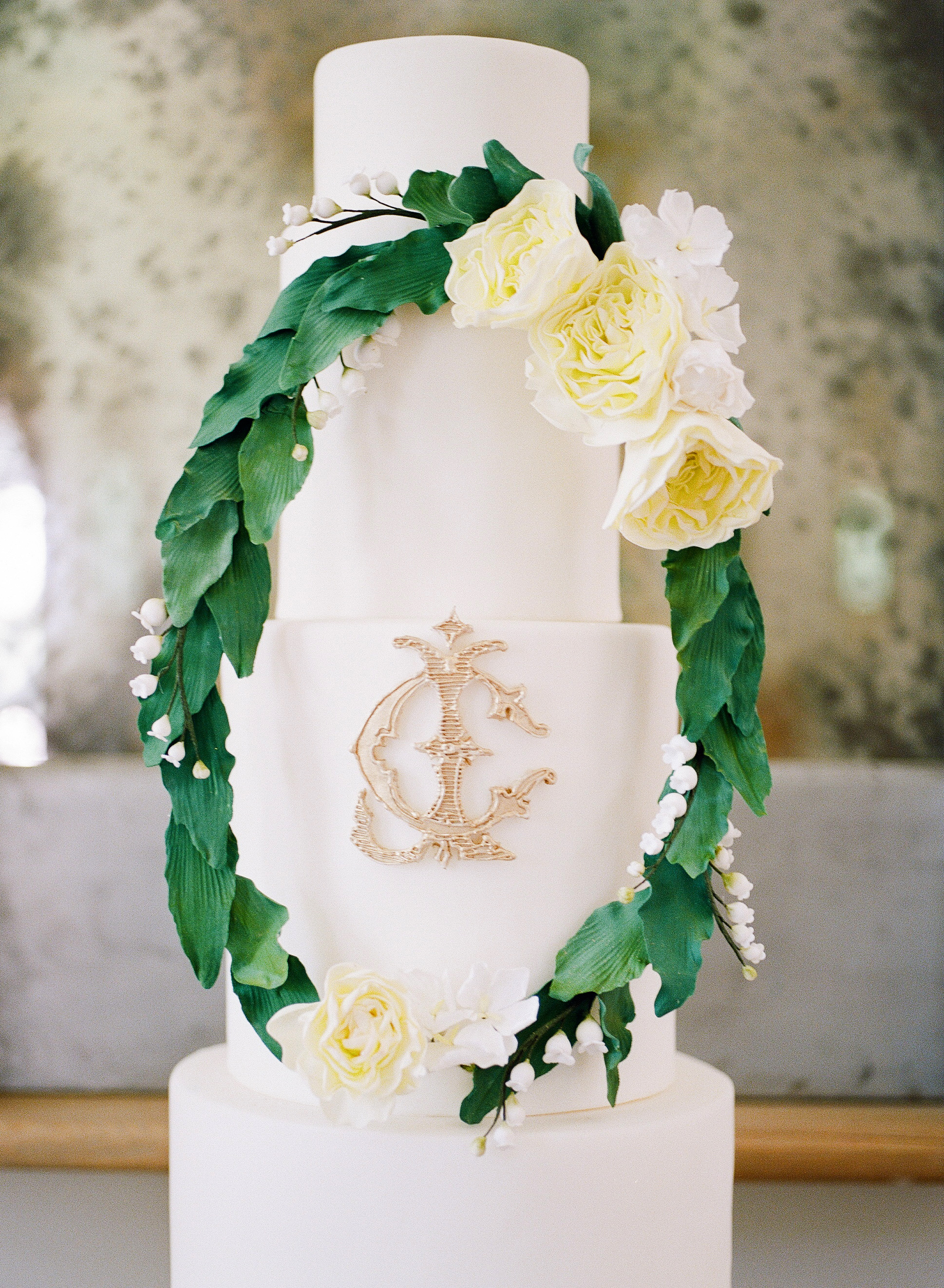 monogram wedding cake alicia lacey buttercream bakery