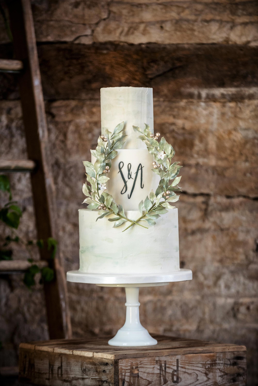 monogram wedding cake sarah vivienne katie sanderson