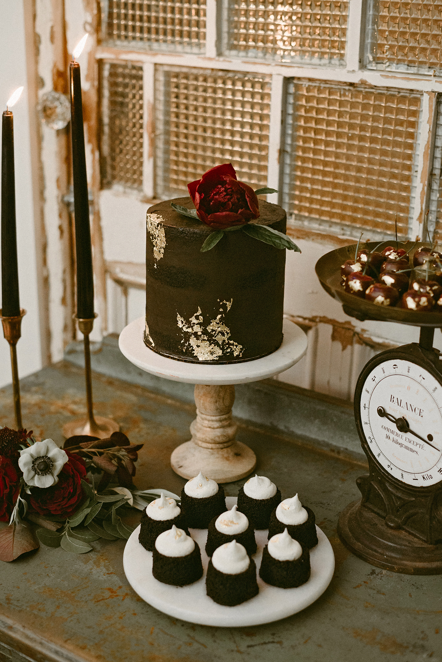 simple rustic chocolate cake with bloom