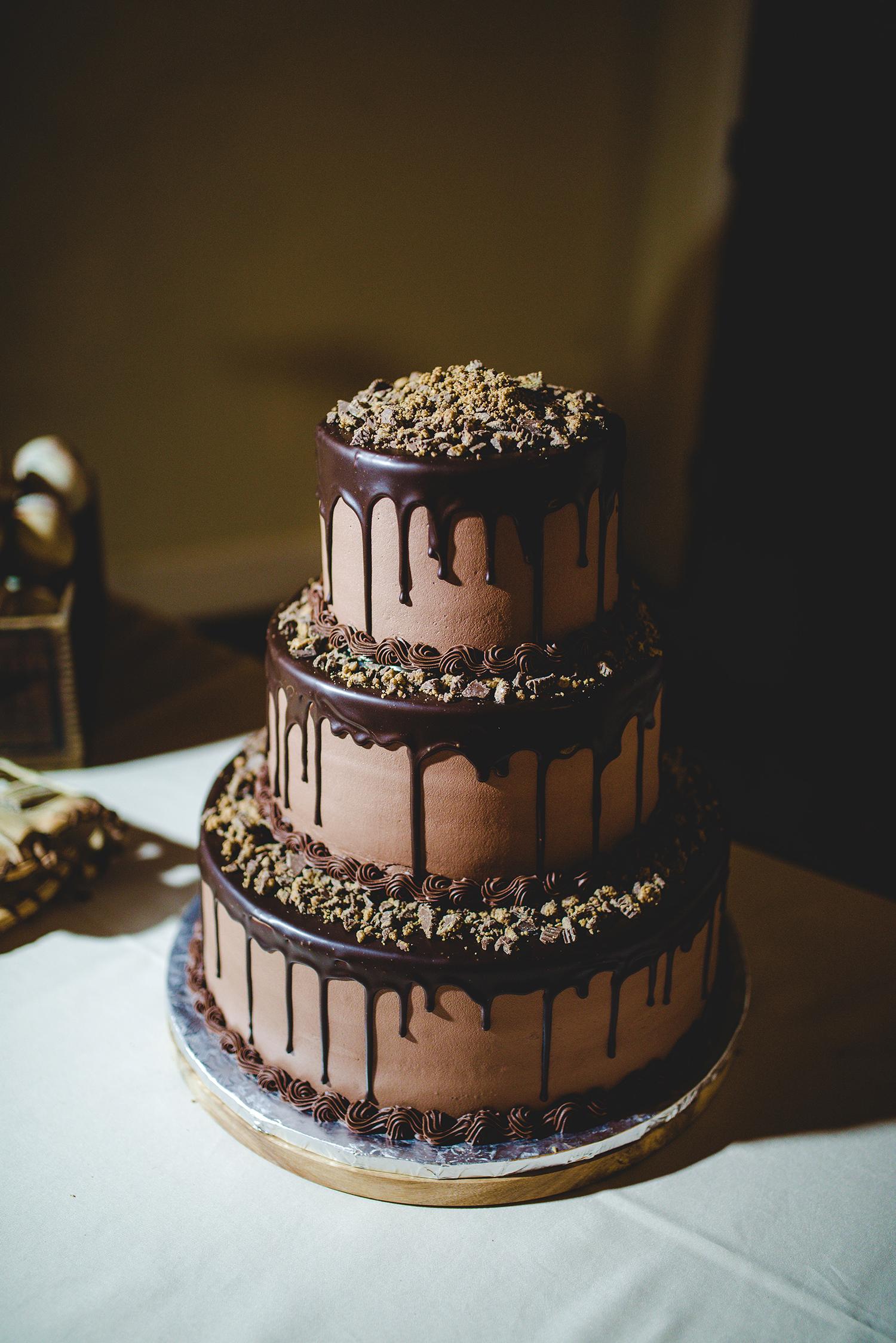 tiered chocolate drip cake