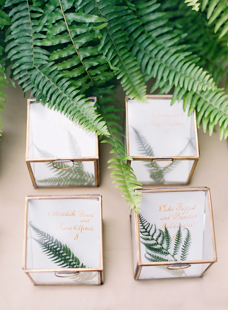 plant wedding favors leaves glass boxes