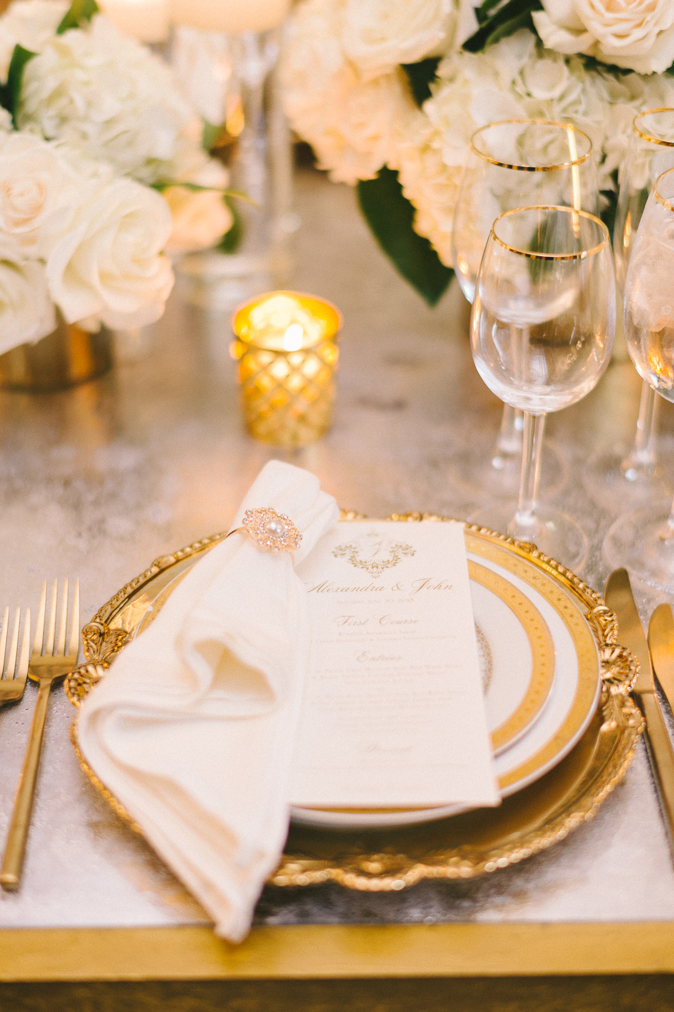 place setting with gold details