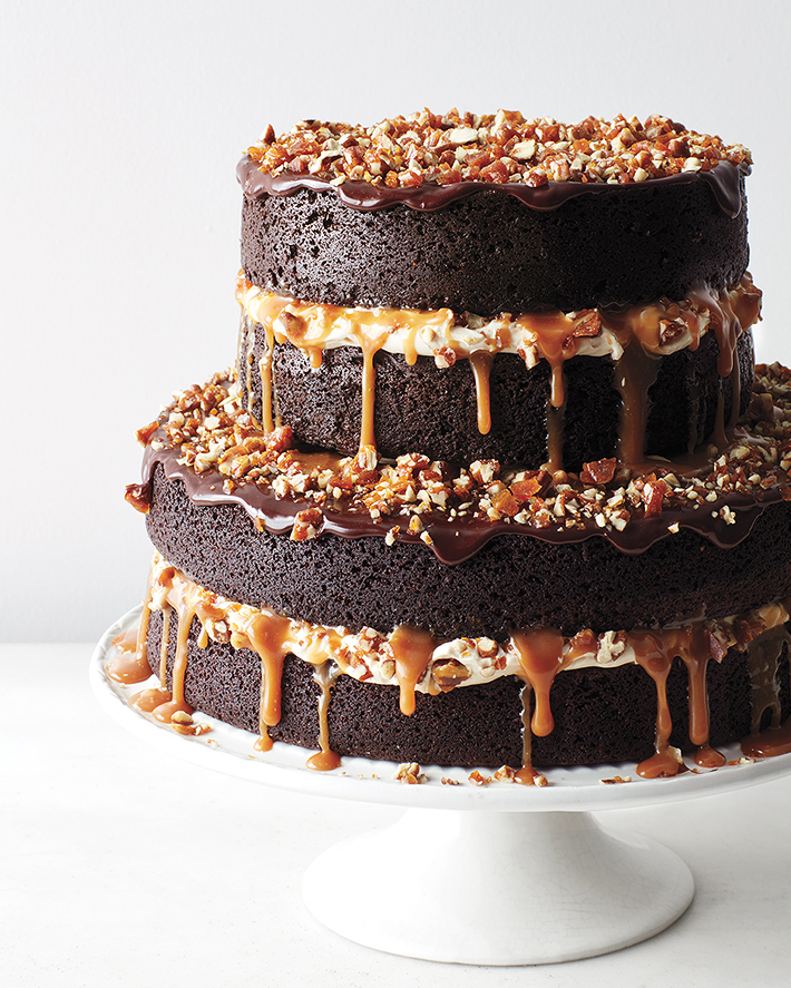 Chocolate Stout Cake with Caramel Buttercream, Salted Caramel, Candied Pecans, and Ganache