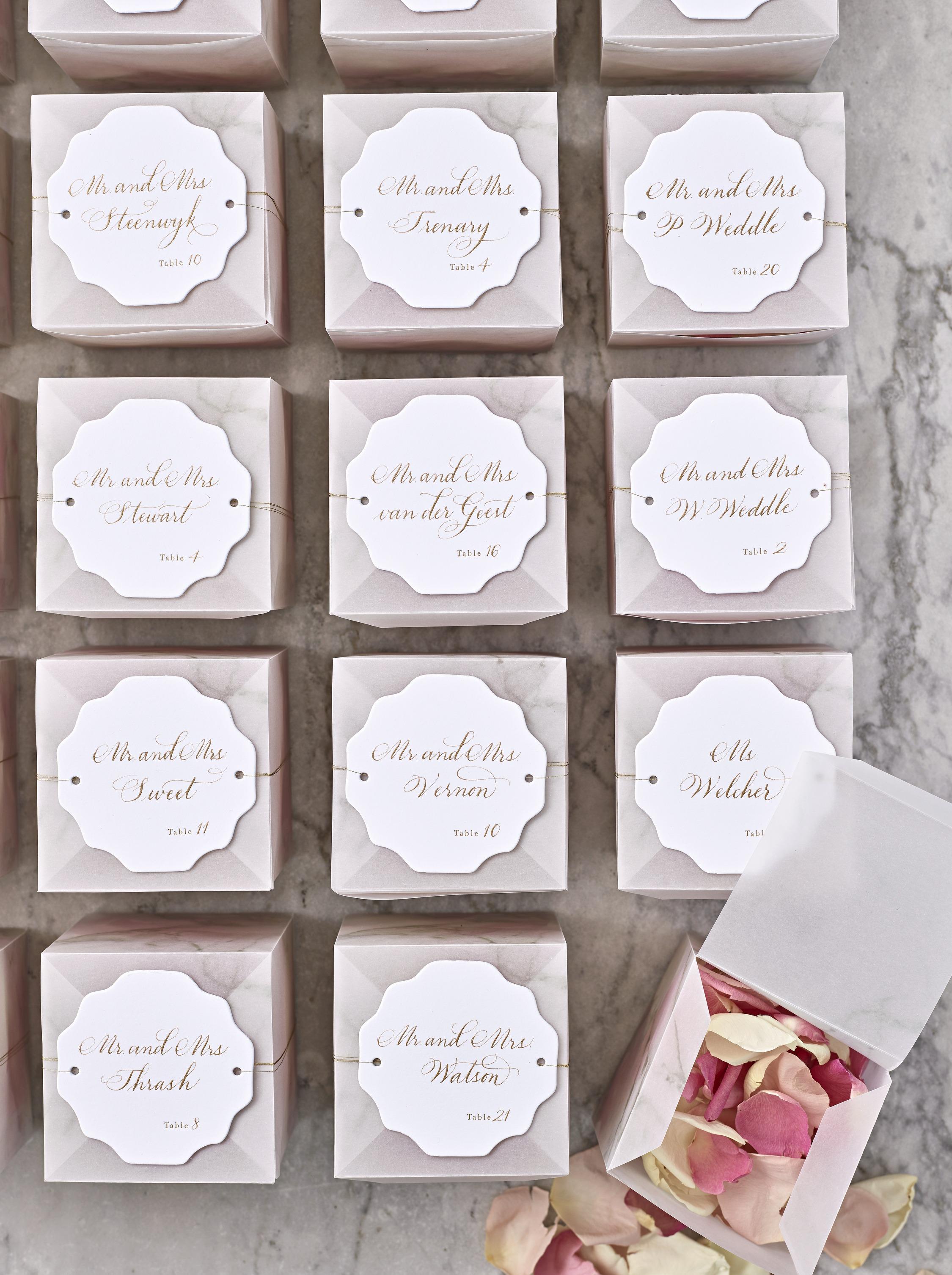 joyann jeremy wedding confetti escort cards