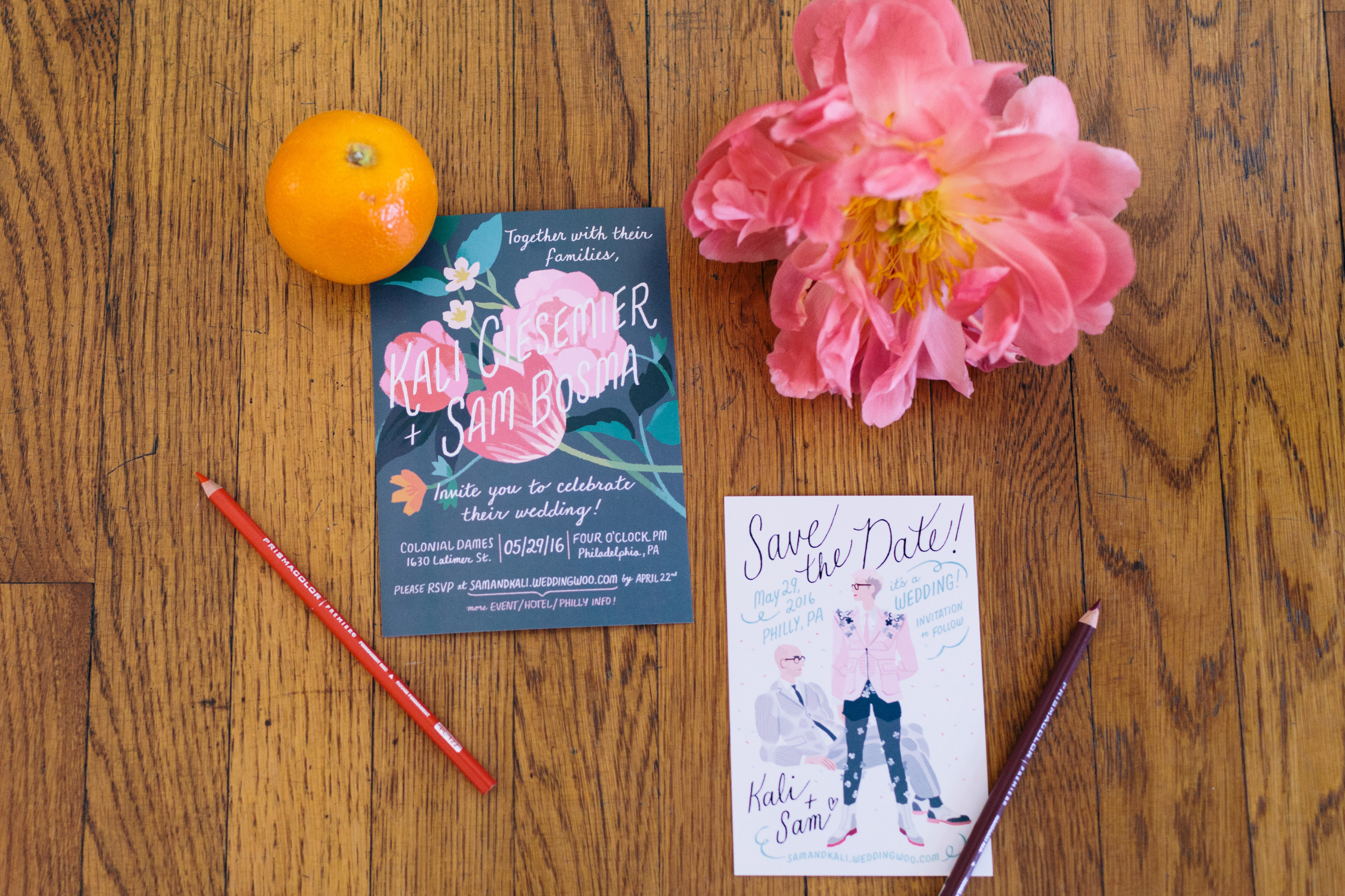 bright floral save the dates