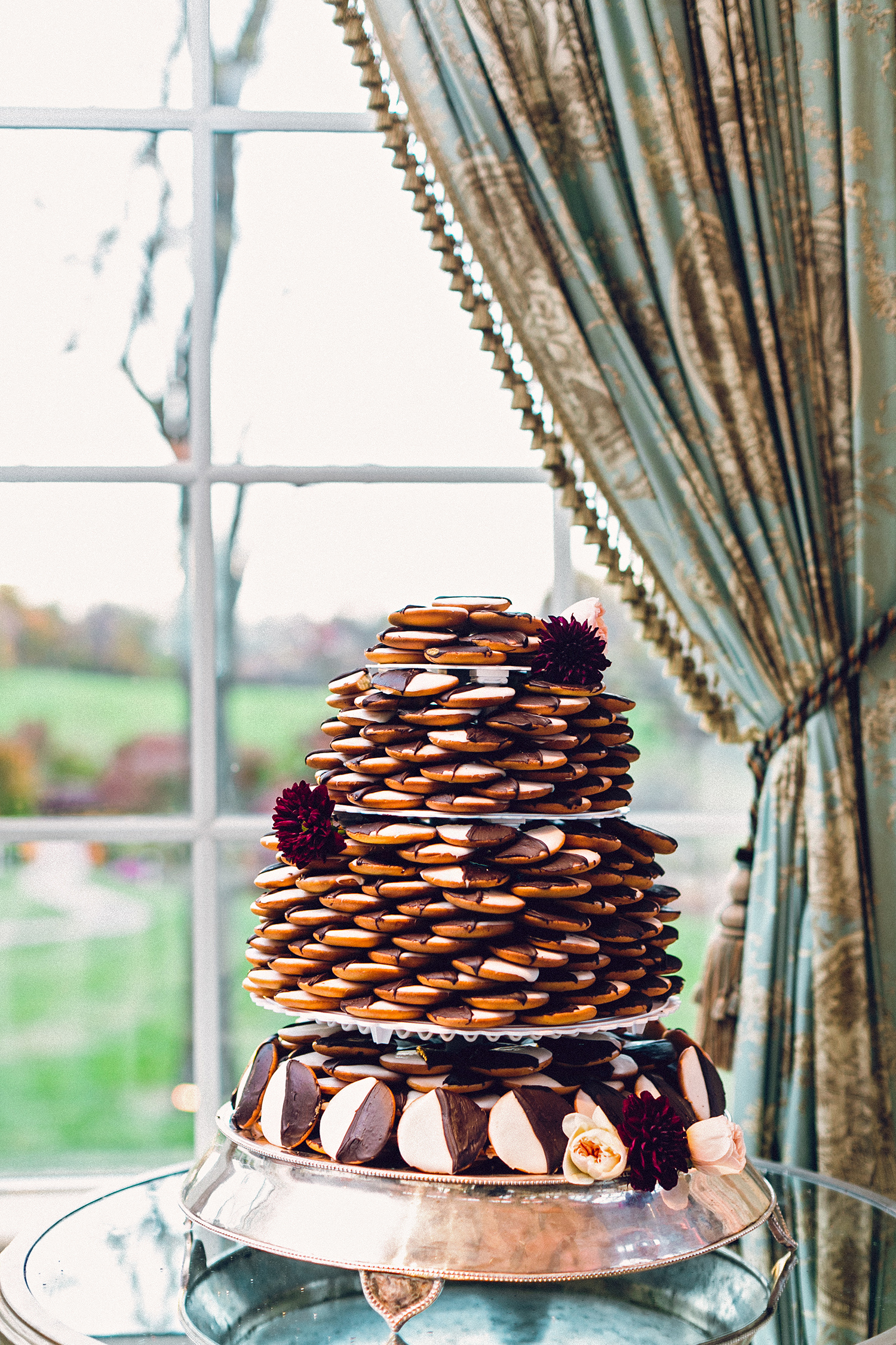 For a destination wedding, serve up a treat that your locale is known for. Black-and-white cookies are a New York City staple; this dessert tower from Joey's would be perfect for a glamorous city affair.