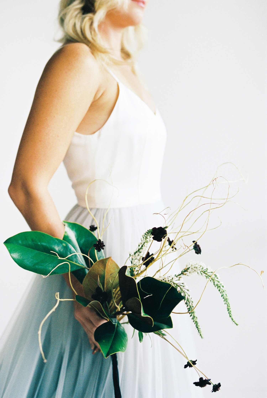 modern wedding bouquet greenery