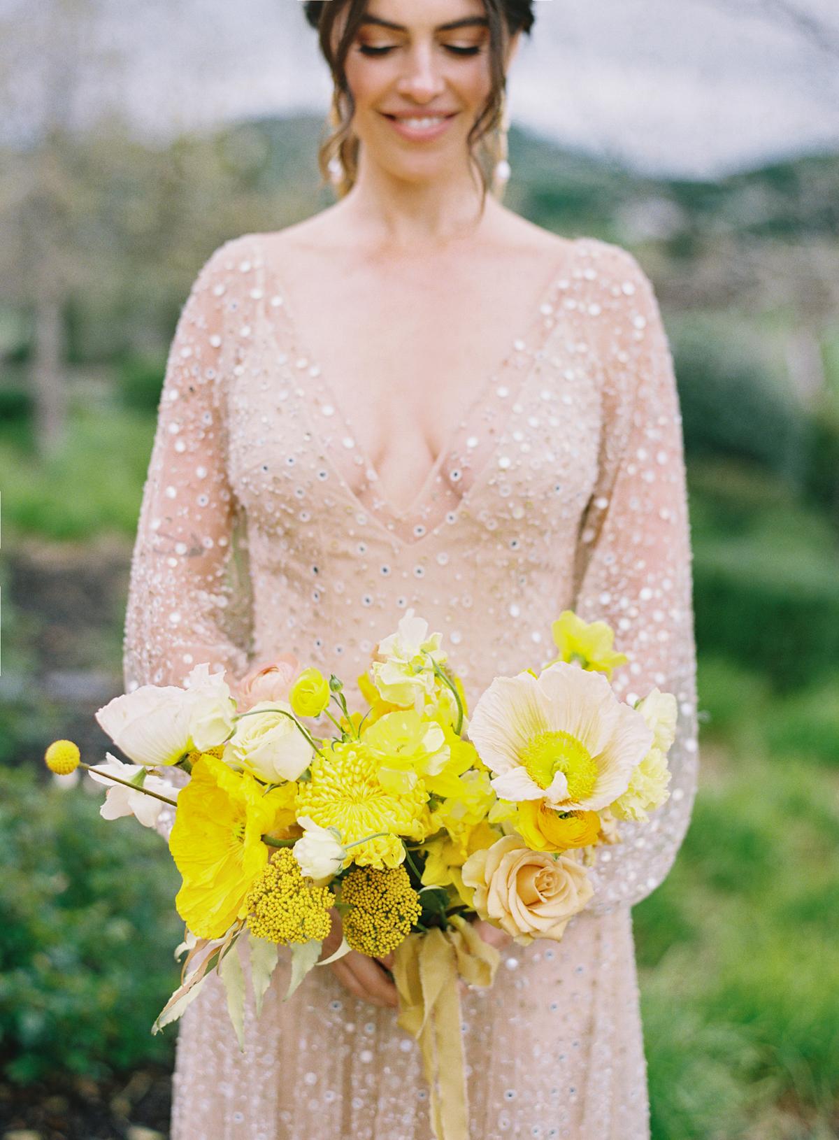 modern wedding bouquet neon yellow flowers