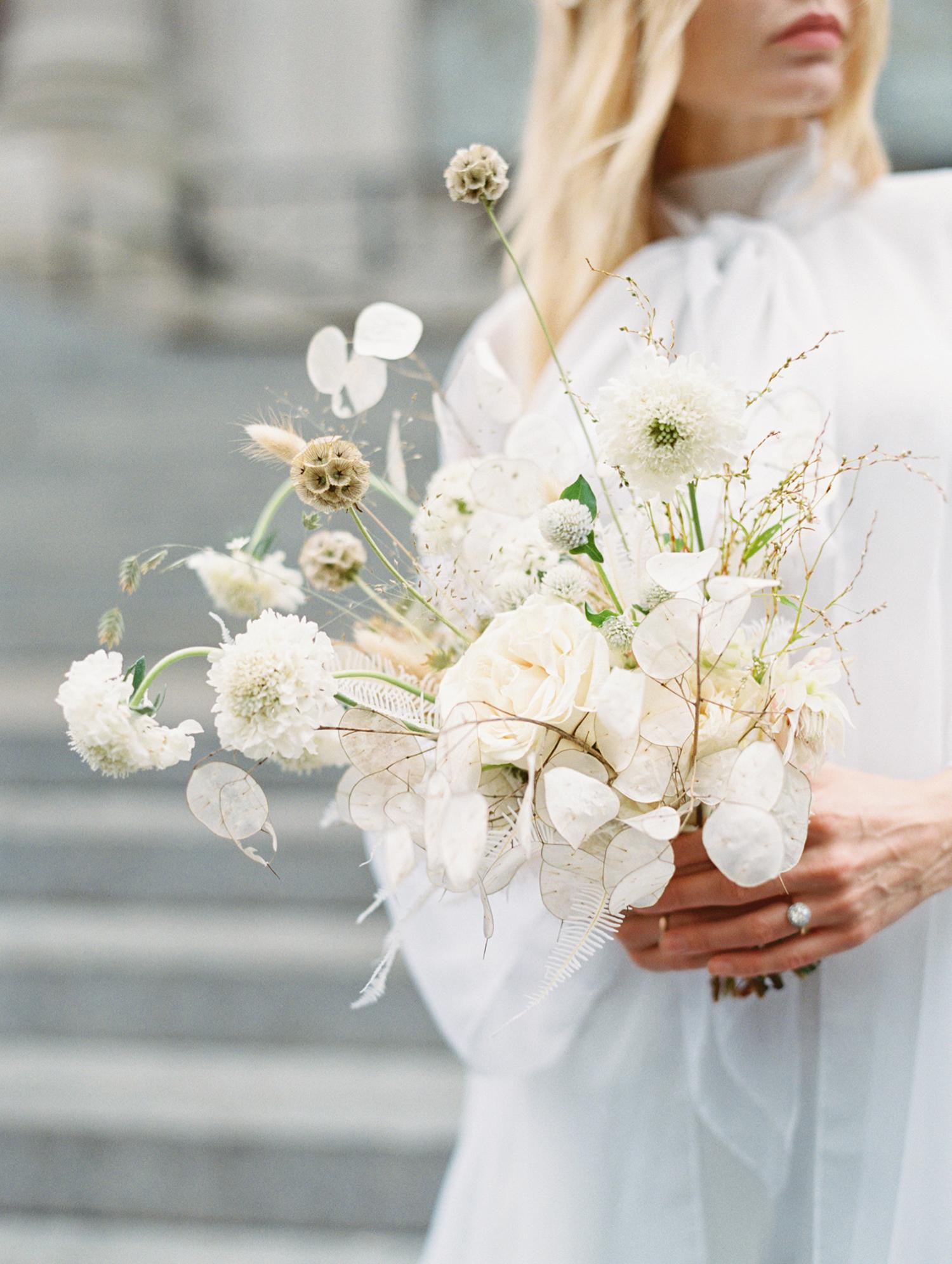 modern wedding bouquet white monochrome