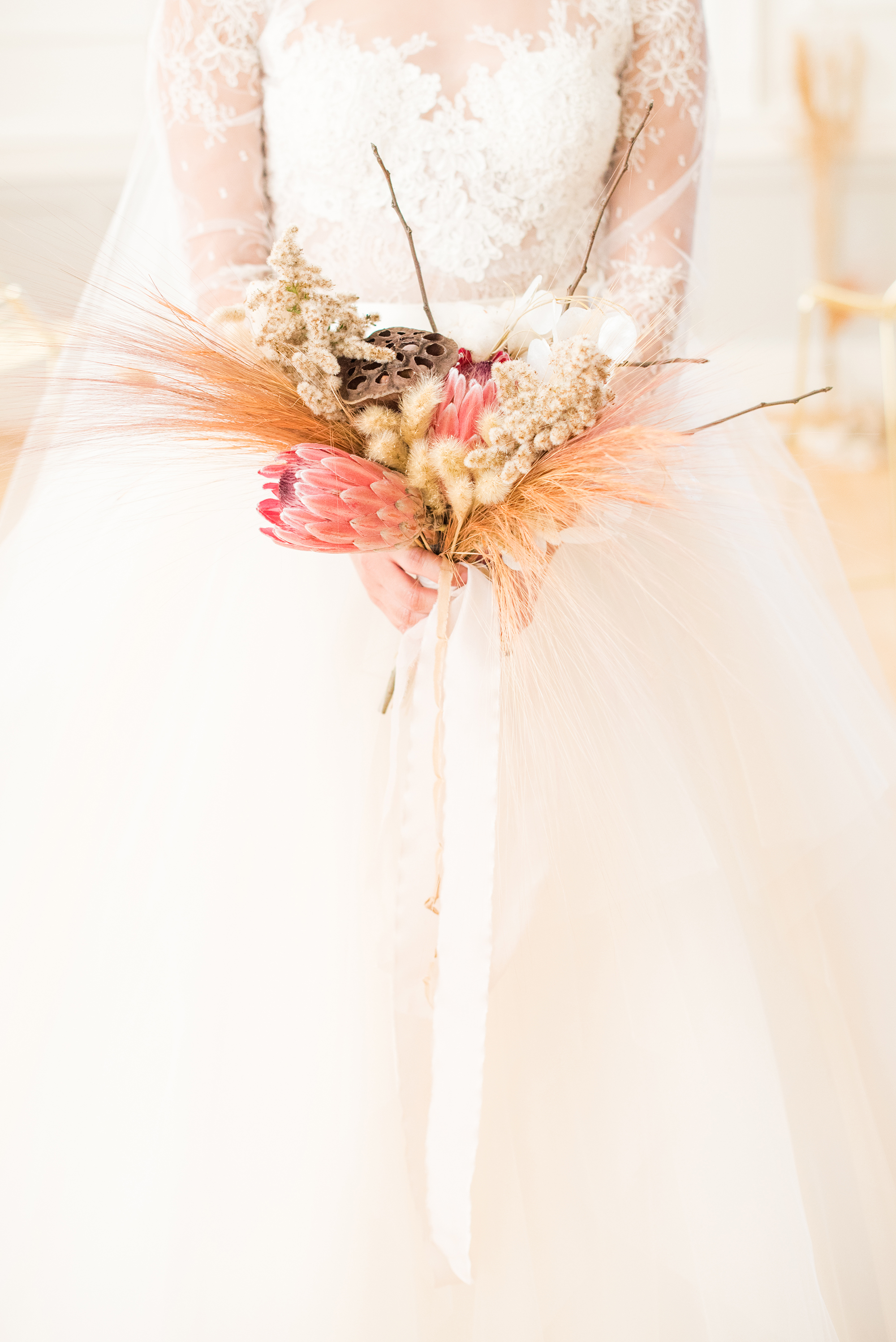 small bouquet with dried elements and protea
