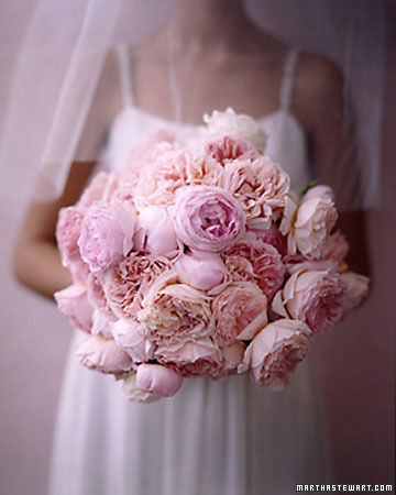 Bouquet With Pink Cabbage Roses