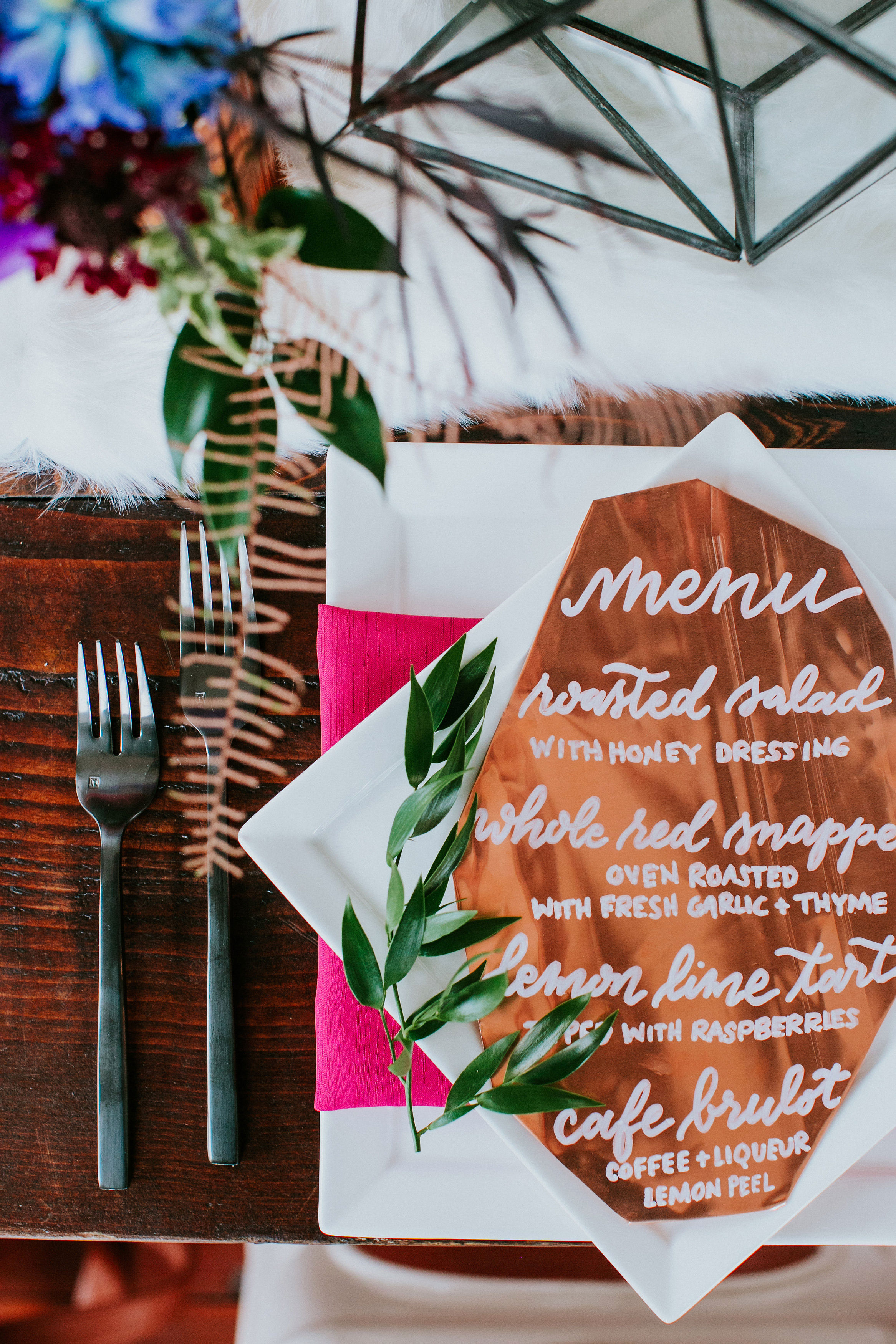 wedding menu placesetting