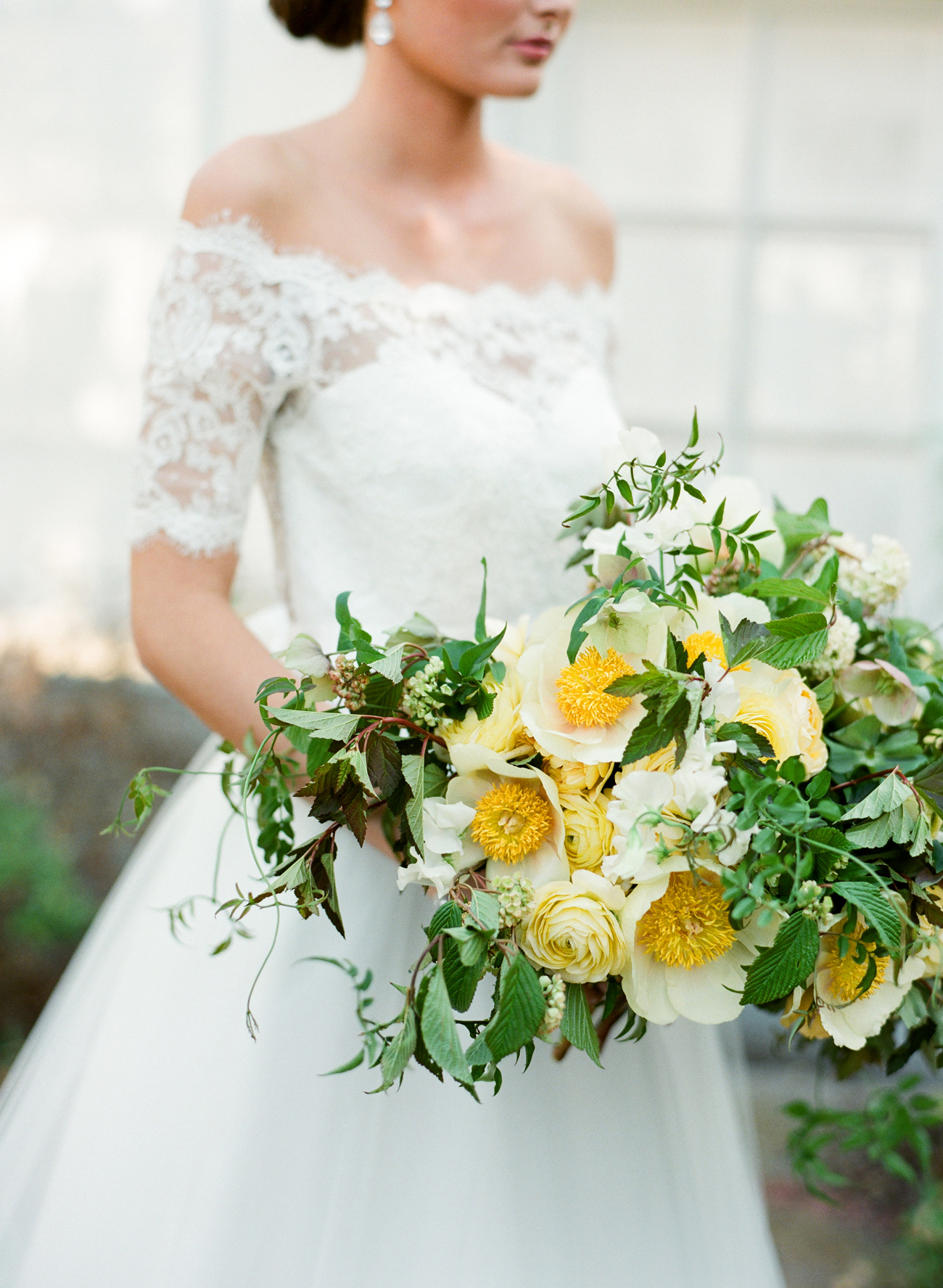 greenery with white peonies and roses bouquet