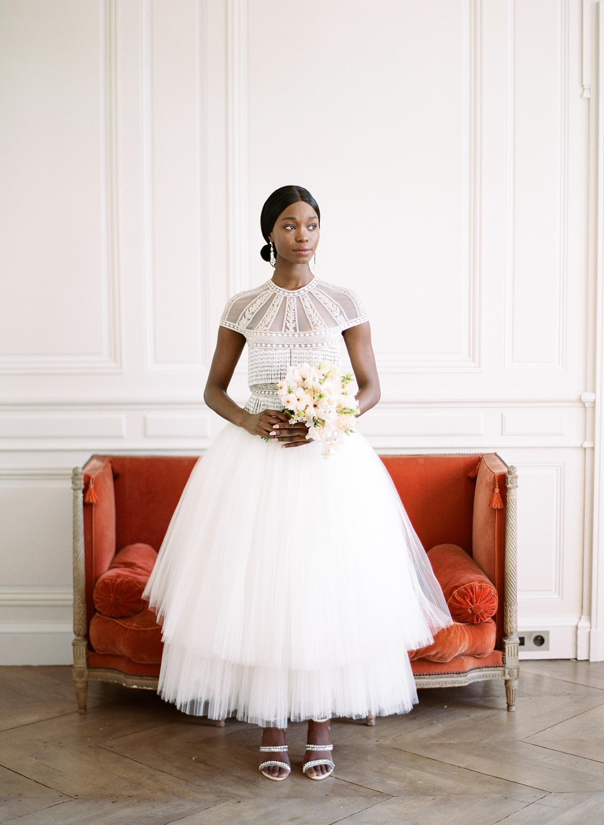 destination wedding dress short-sleeves tulle skirt