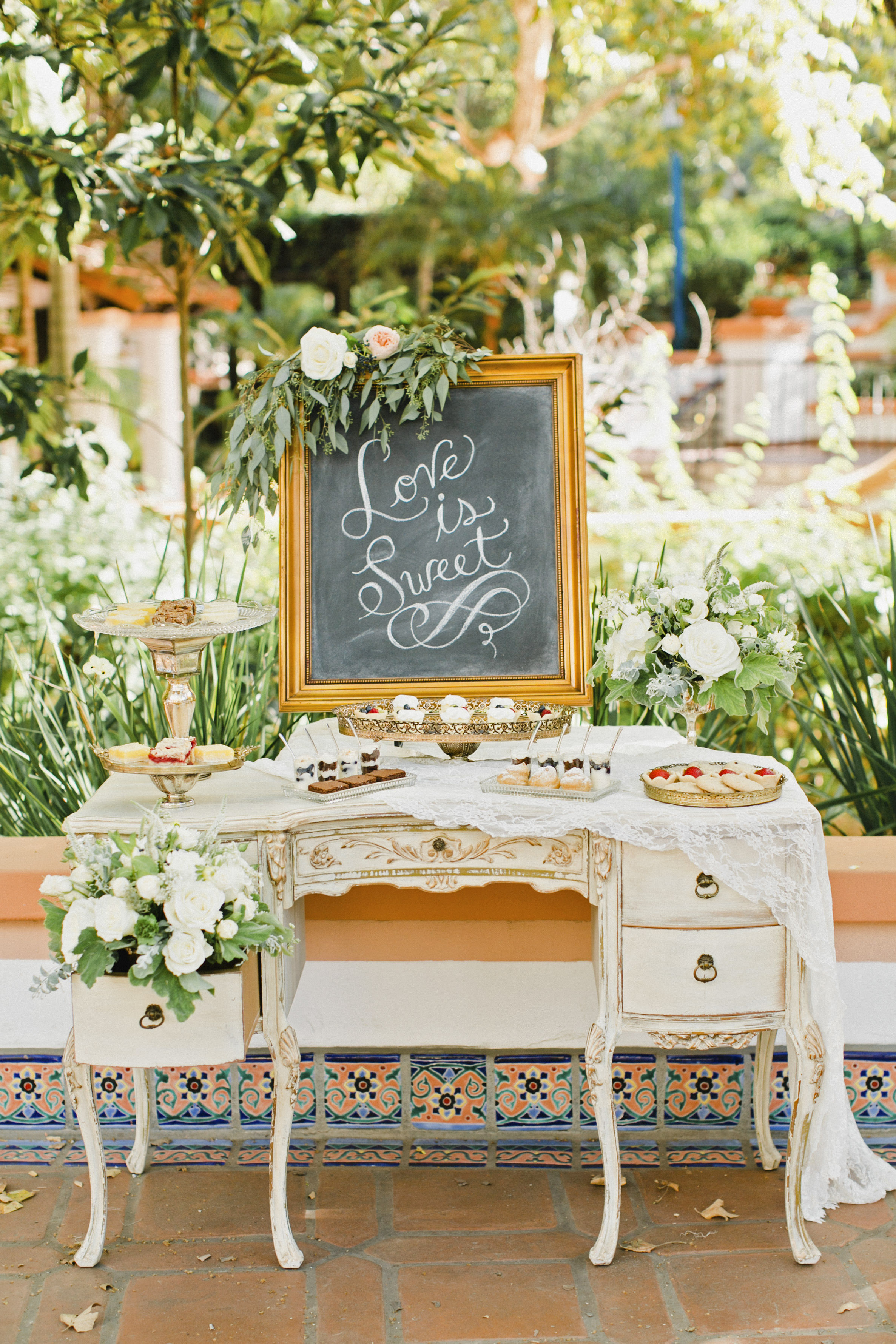 dessert table on old farm cart