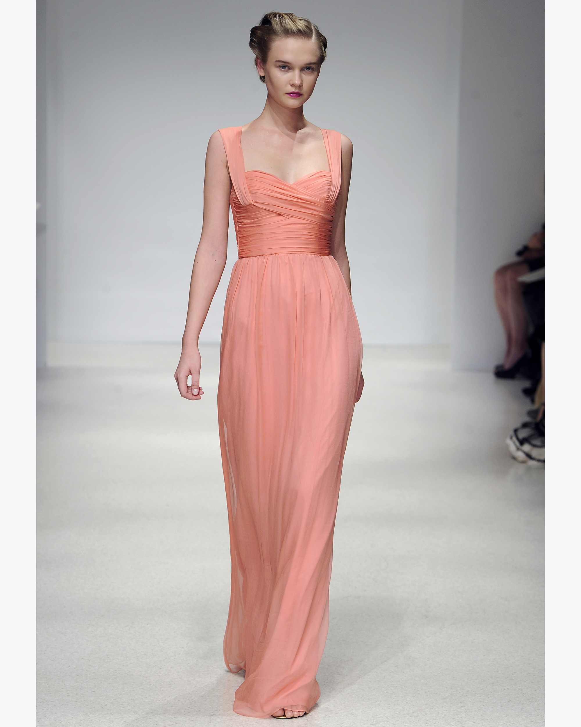 Long Peach Bridesmaid Dress
