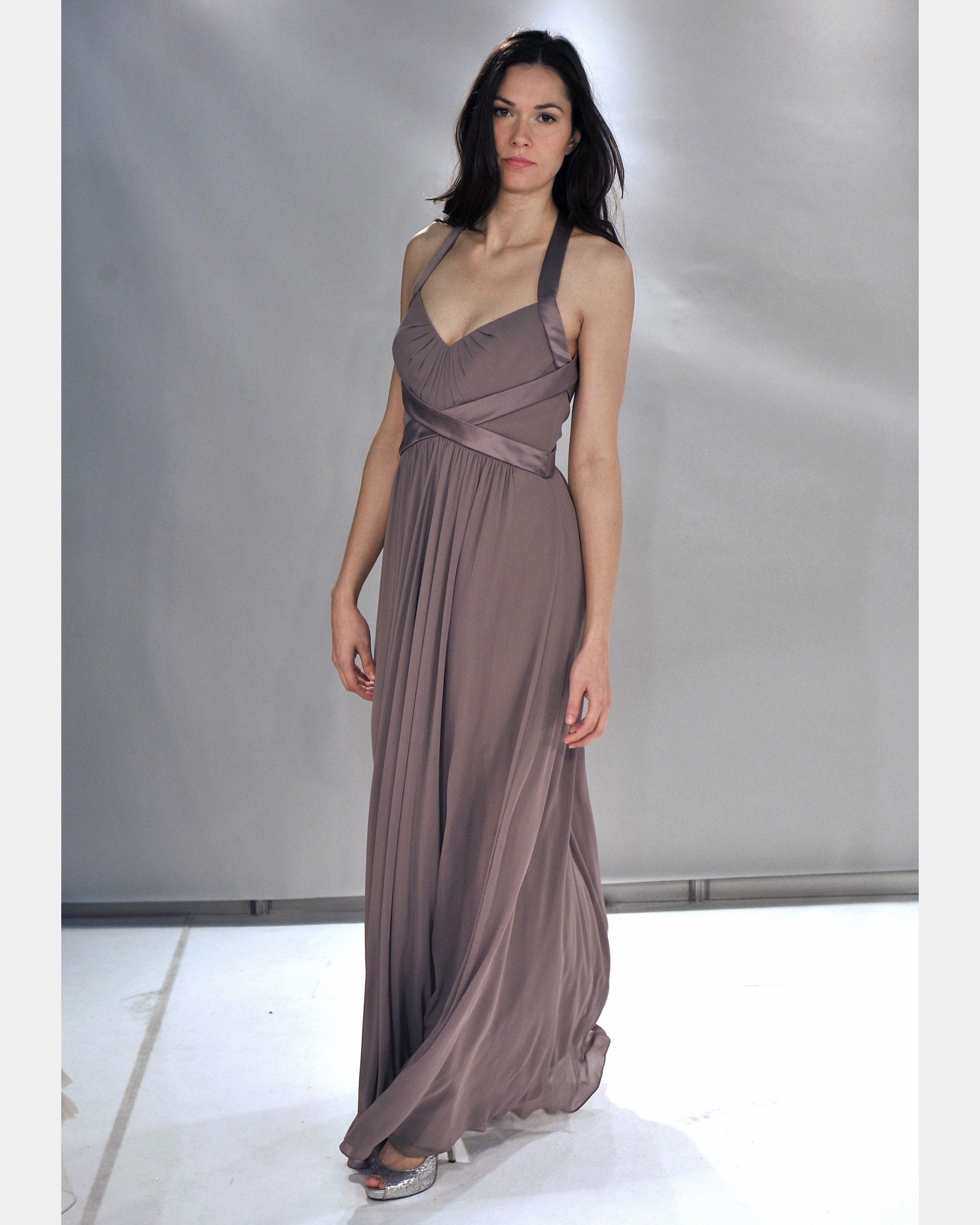 Long Taupe Bridesmaid Dress
