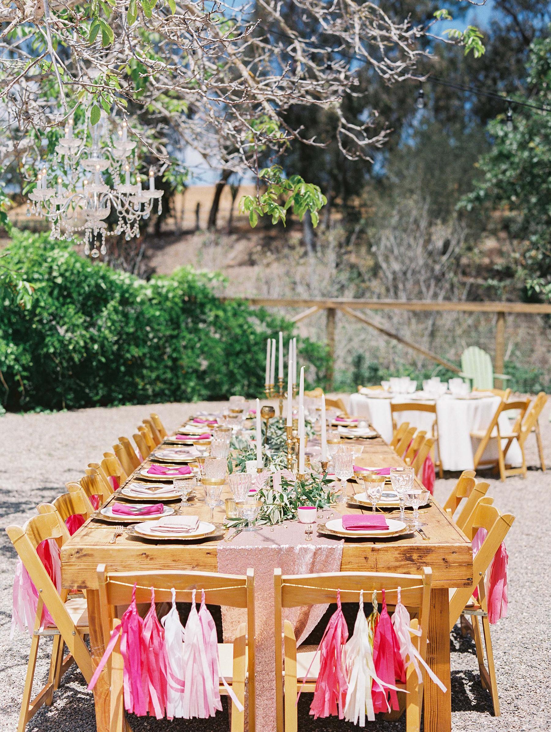 Chair Decor Pink Tassel Garland