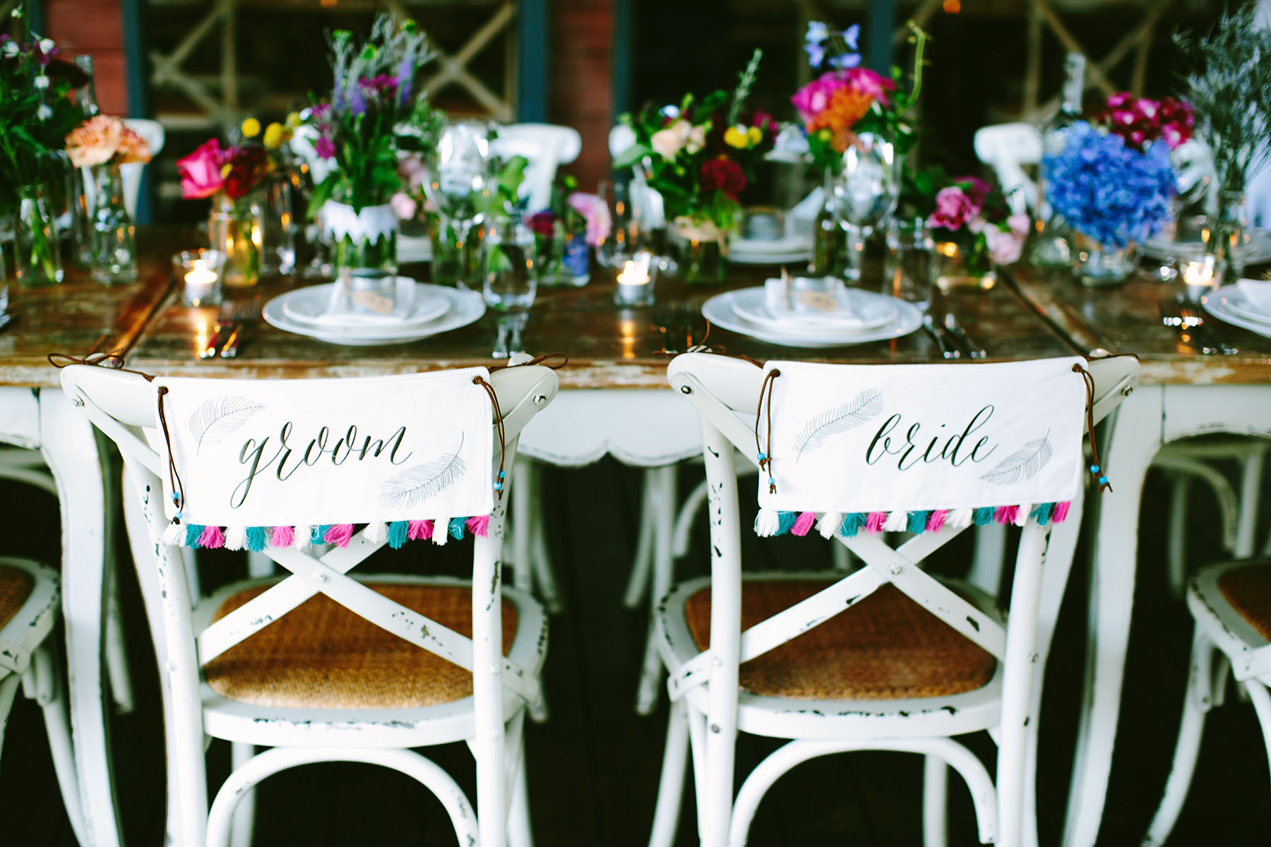 Chair Decor Bride Sign with Pink and Blue Tassels