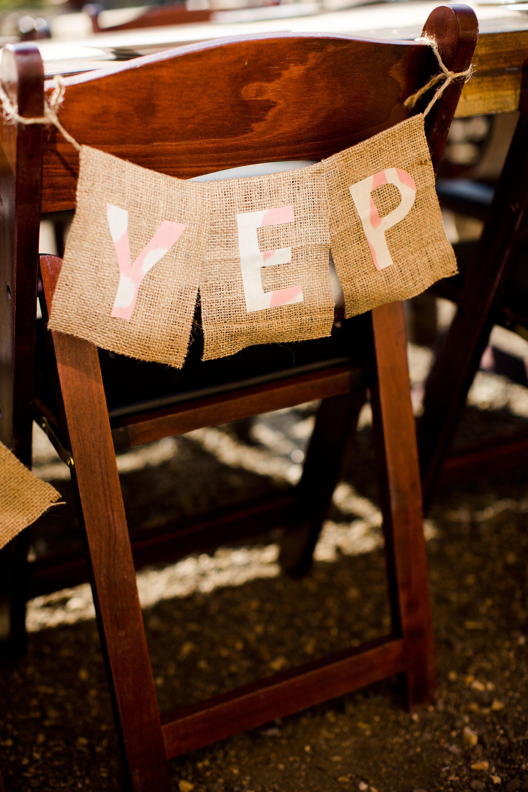 "Chair Decor ""Yep"" Burlap Garland"