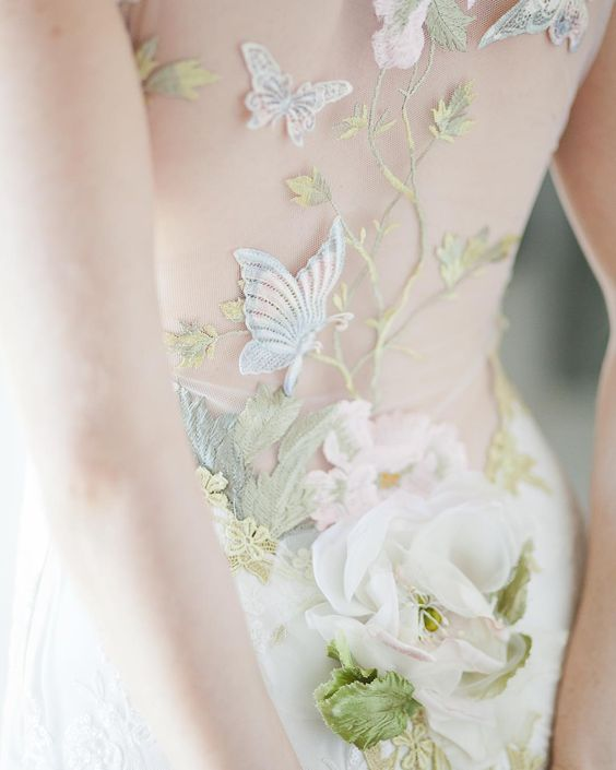 butterfly embroidered wedding dress