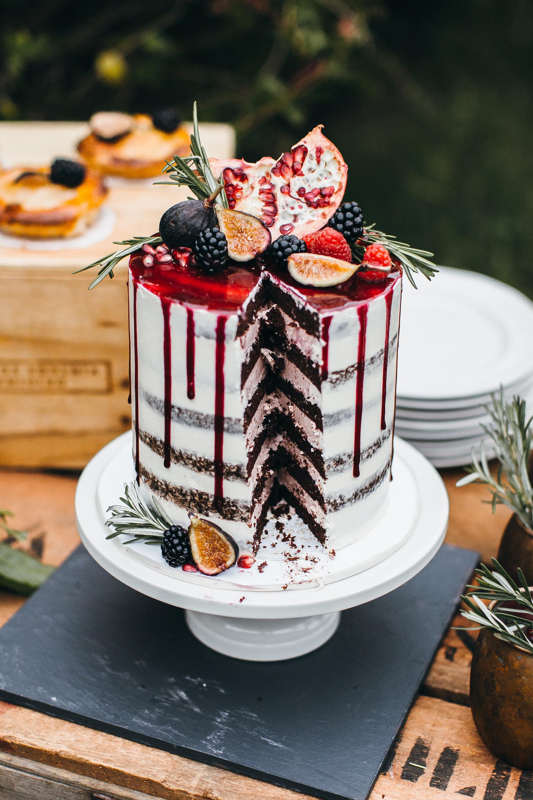 fruit wedding cake with drip