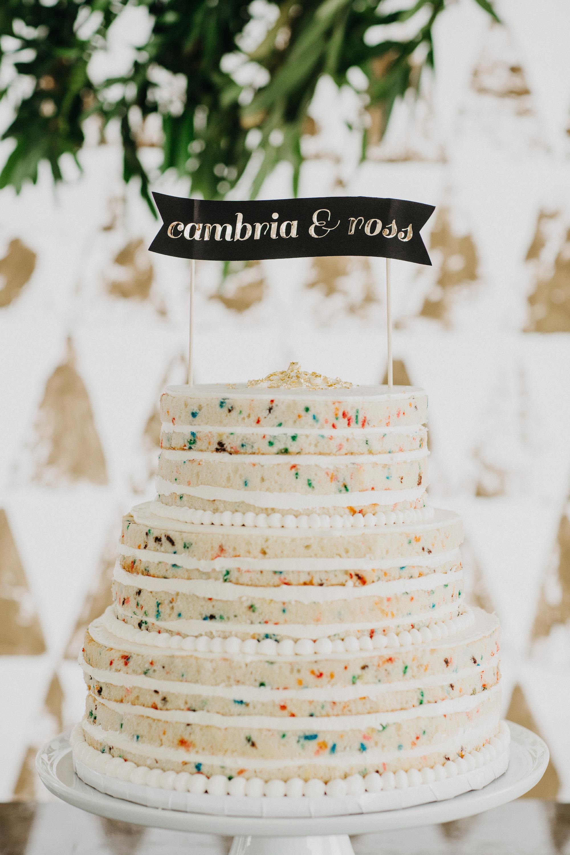 naked funfetti wedding cake