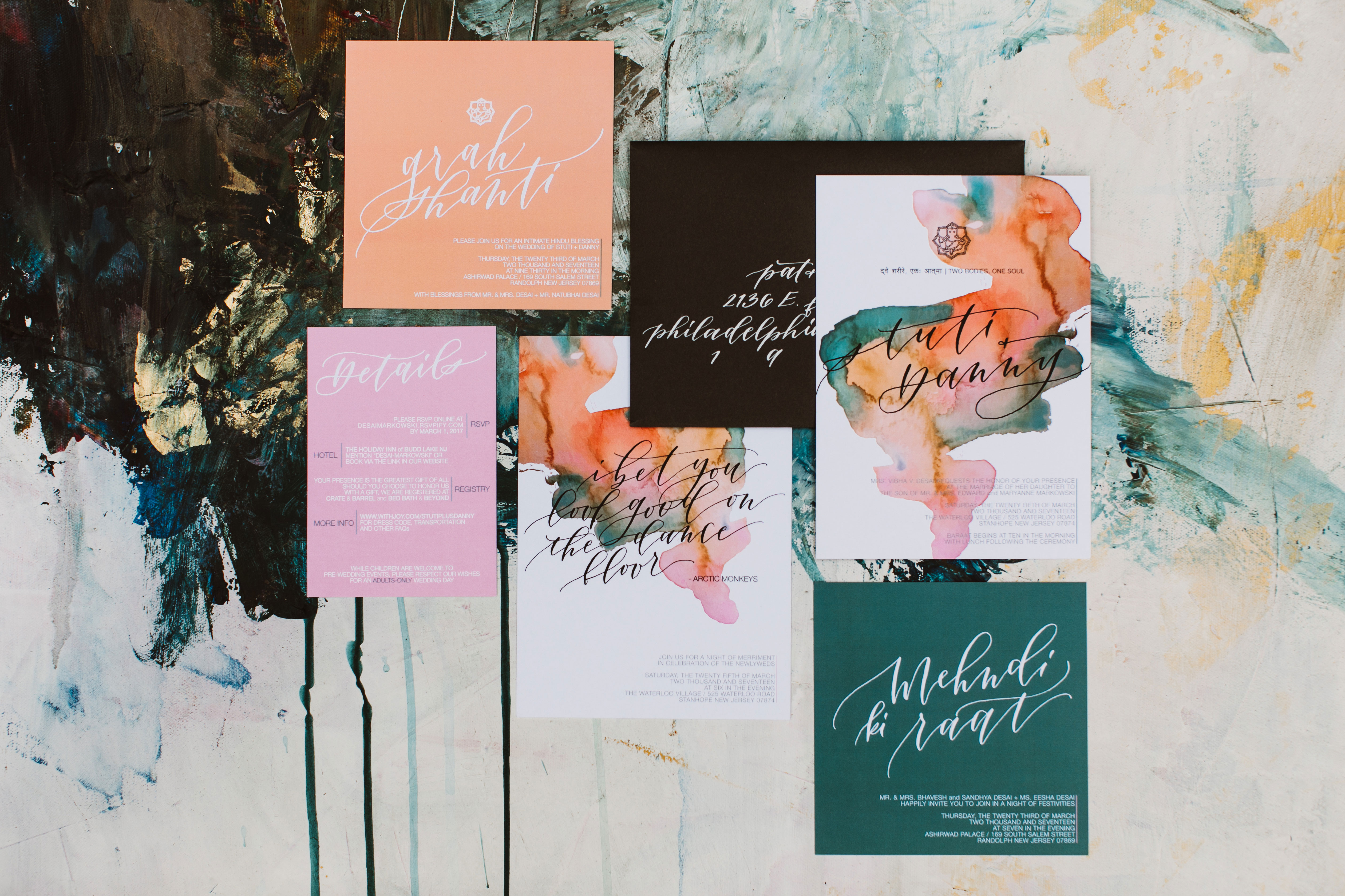 painted modern stationery suite invitations