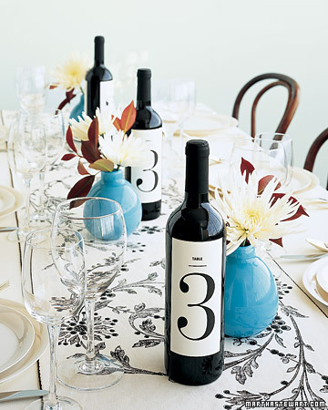 Wine Bottles as Wedding Table Numbers
