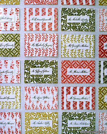 Patterned Seating Cards
