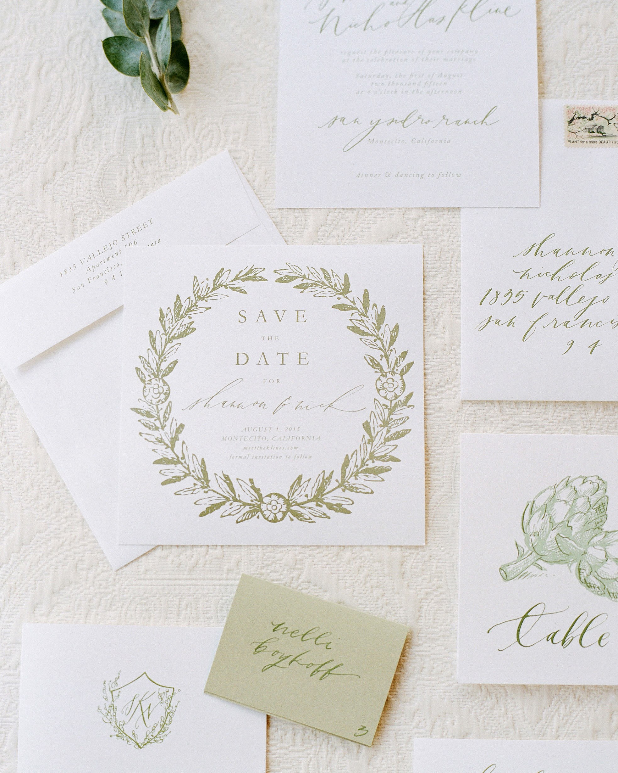 classic save the dates weathed brown linen