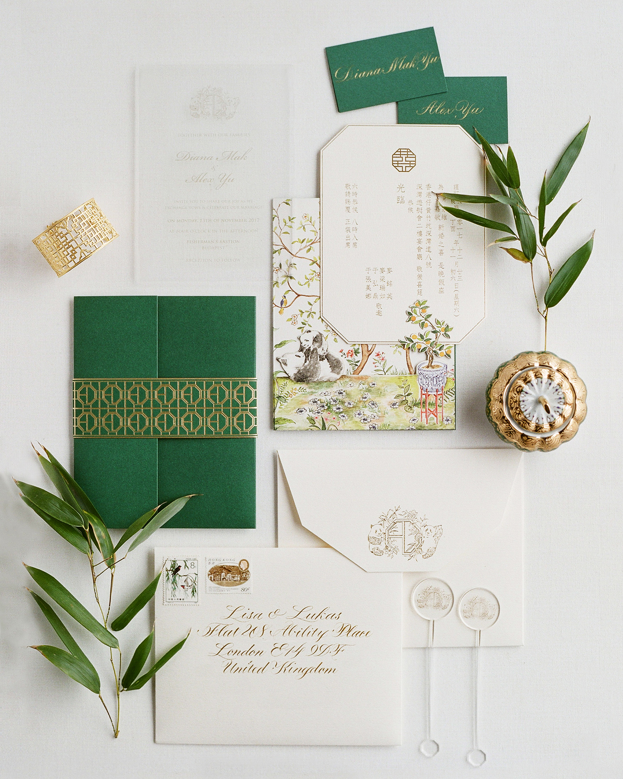 diana alex wedding stationary invitation