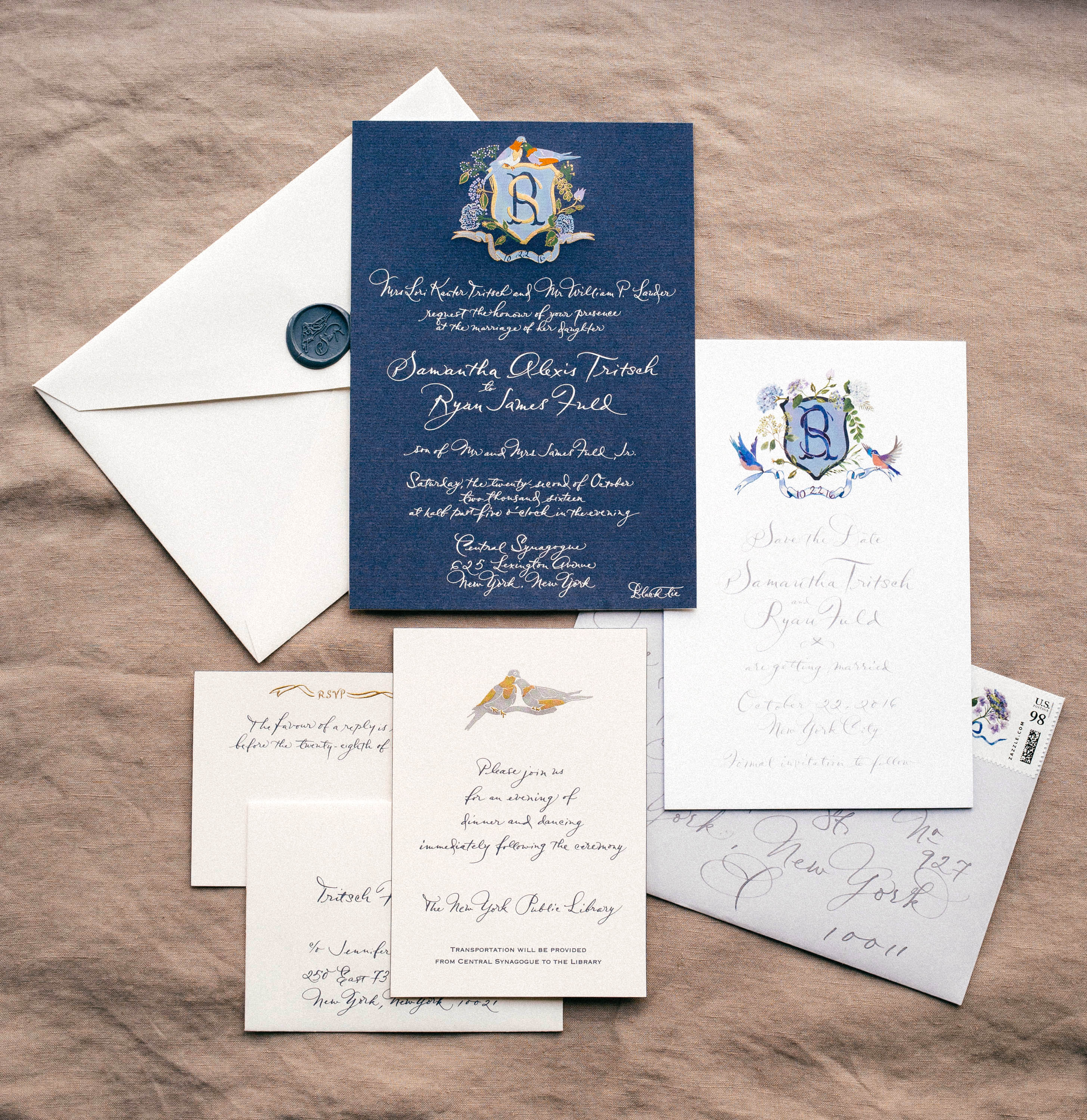 classic invitation love bird illustrations and dark blue elements