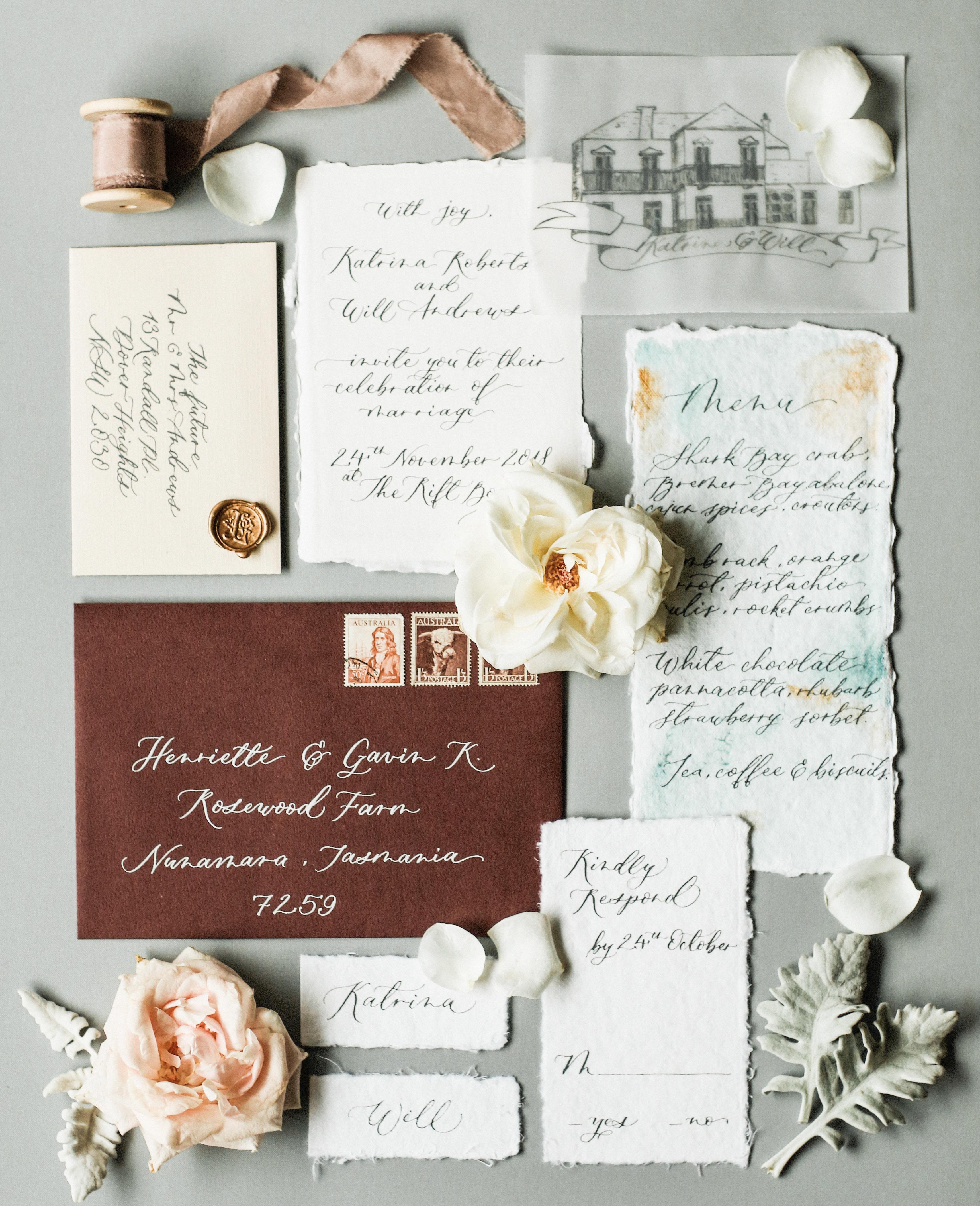 dip dyed vintage invite