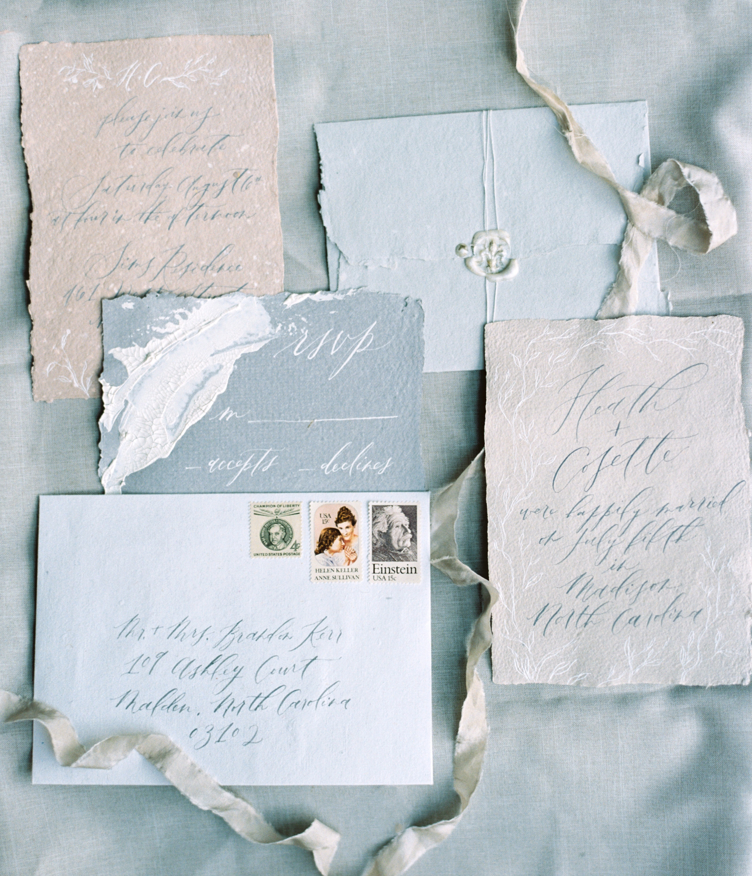 blue white and beige vintage invites