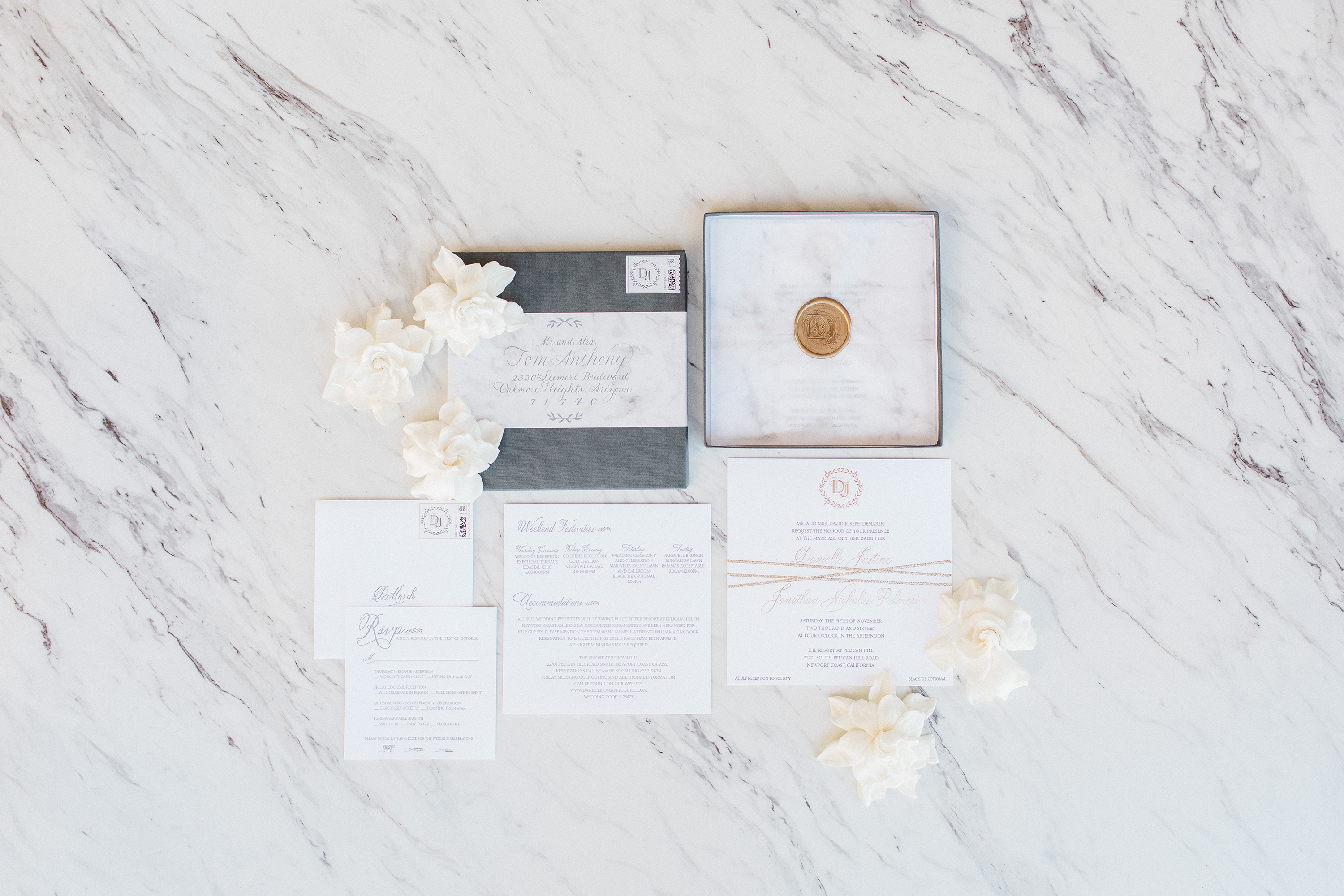 slate gray vintage invite with marble details