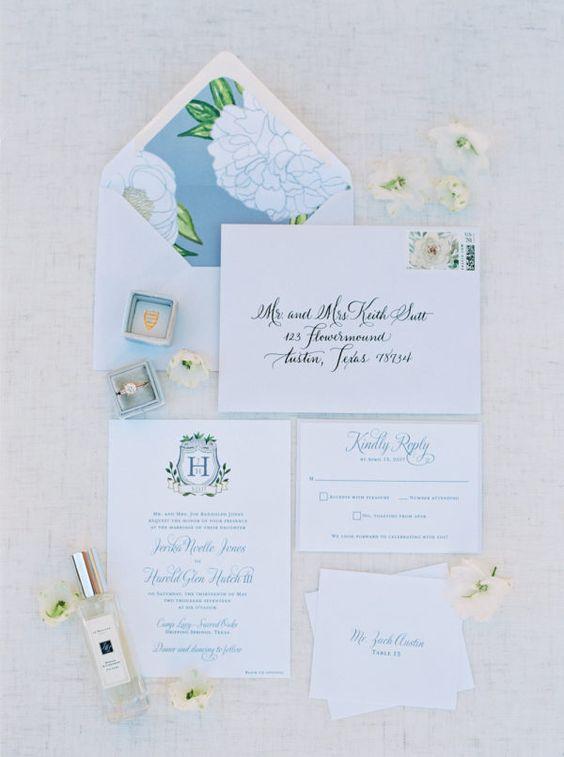 blue vintage invite with envelope flap illustration