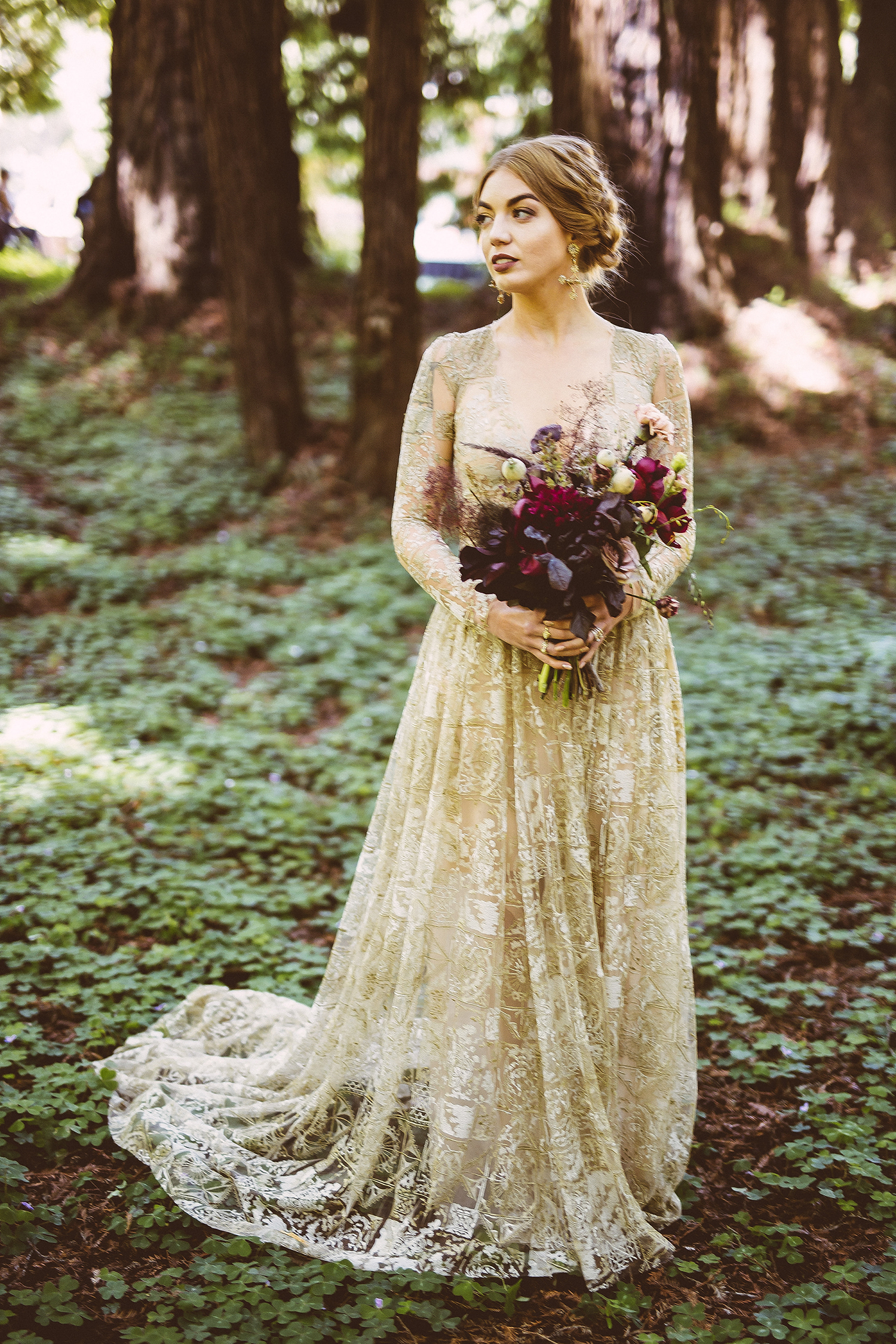 beige lace wedding dress