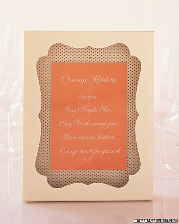 Framed Menu Cards