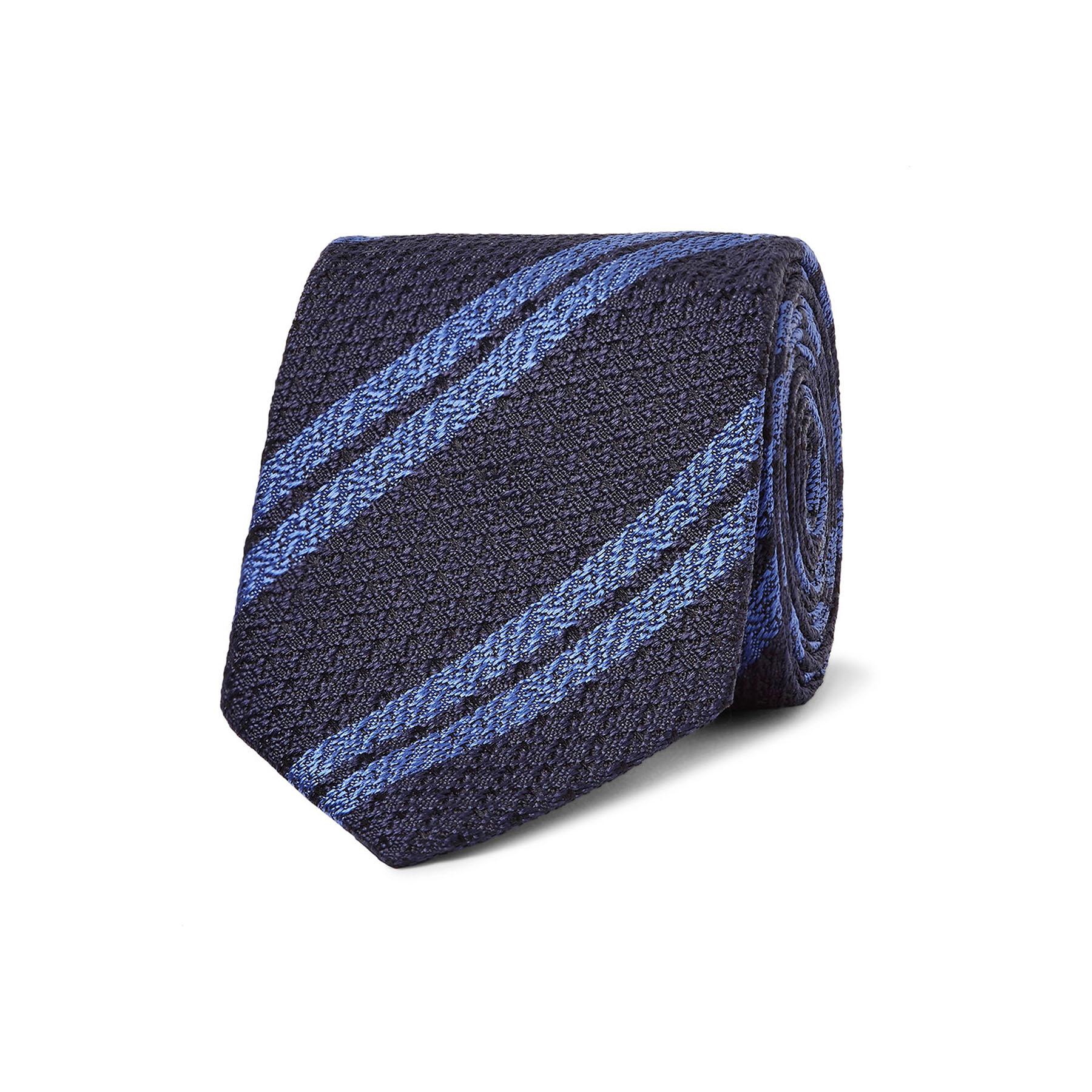 blue striped silk tie